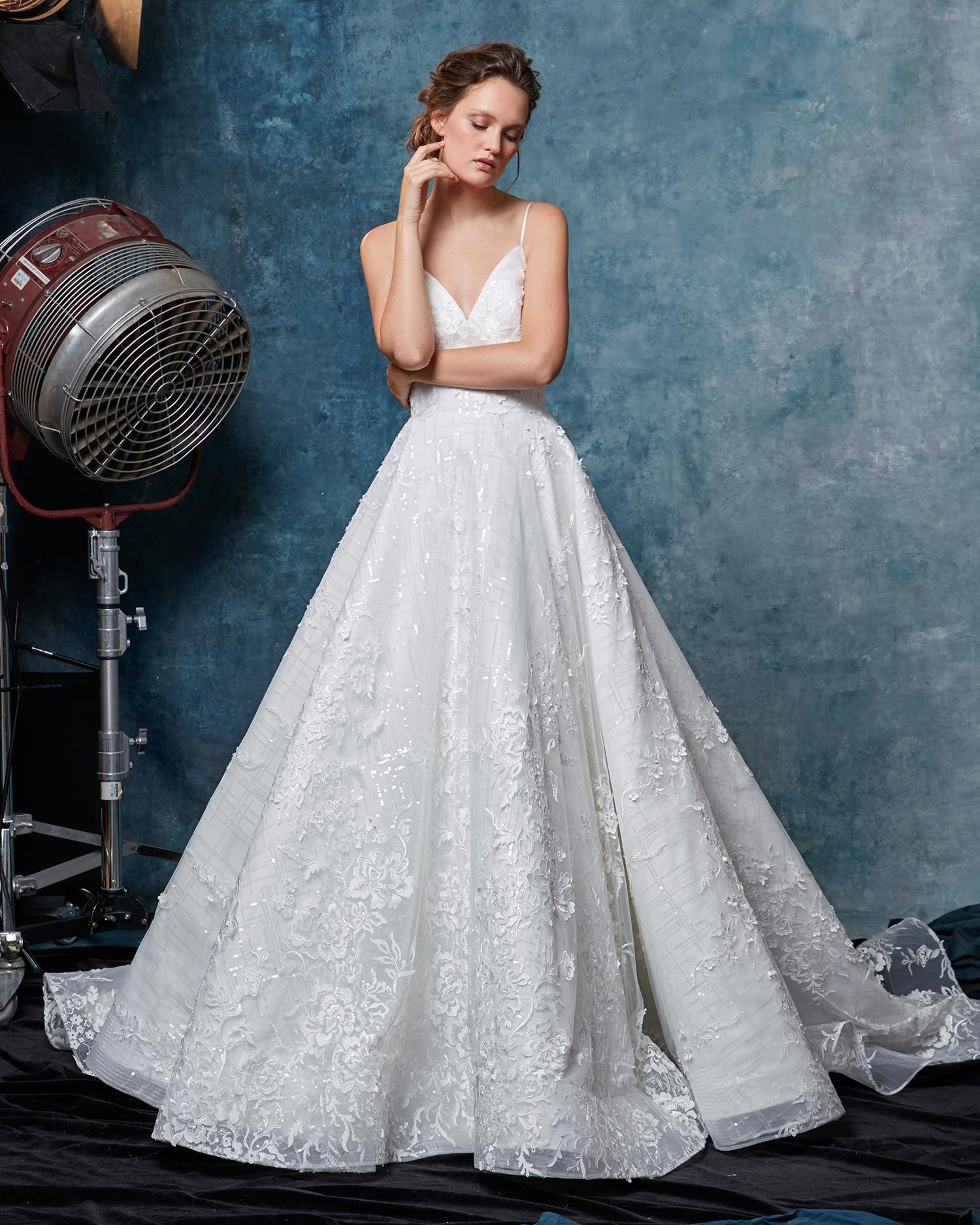 sareh nouri dress fall 2019 spaghetti strap ball gown with beadwork