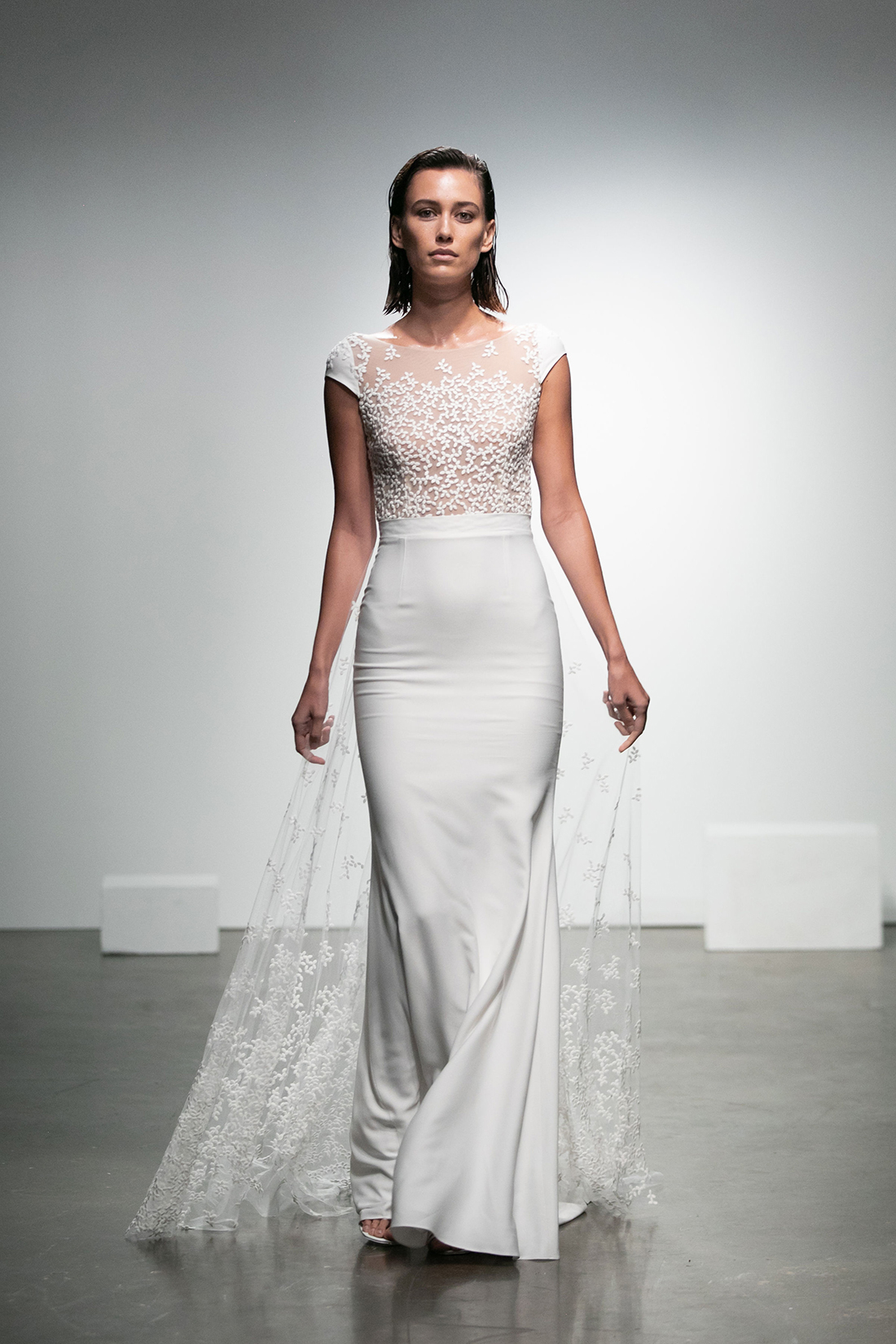 rime arodaky fall 2019 mermaid illusion high neck cap sleeve floral applique sheer train