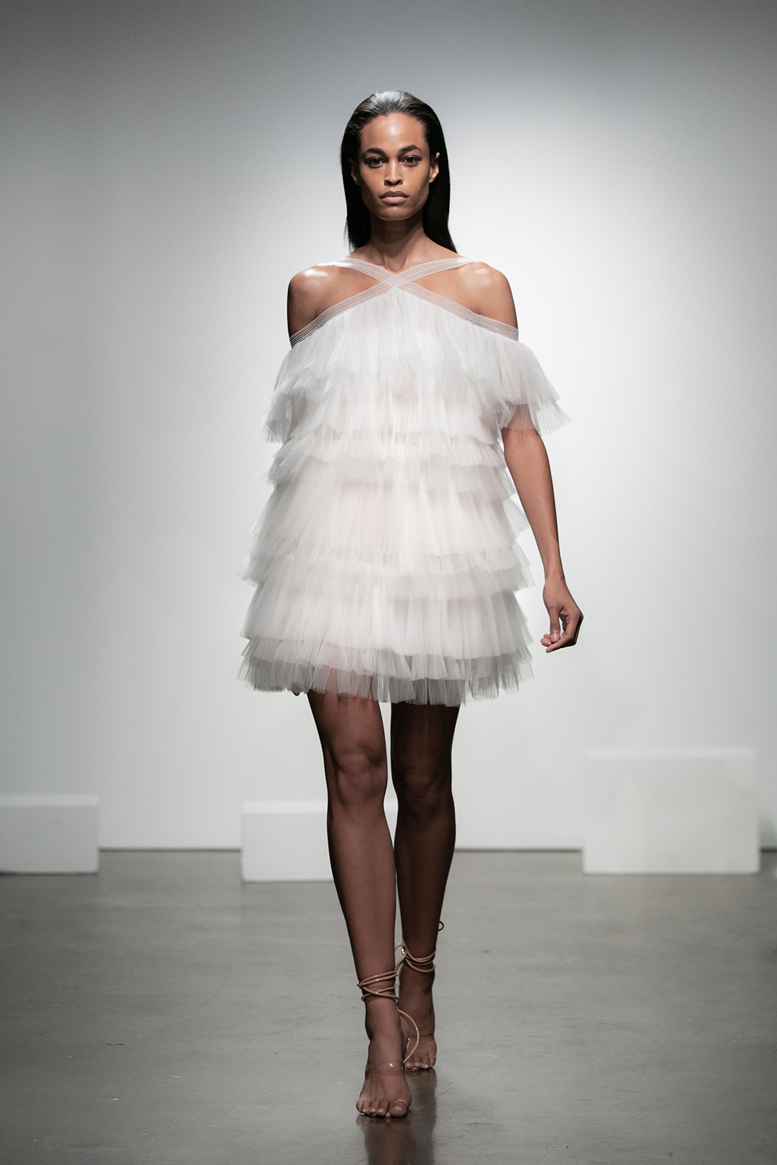 rime arodaky fall 2019 short tiered a line halter sleeveless tulle