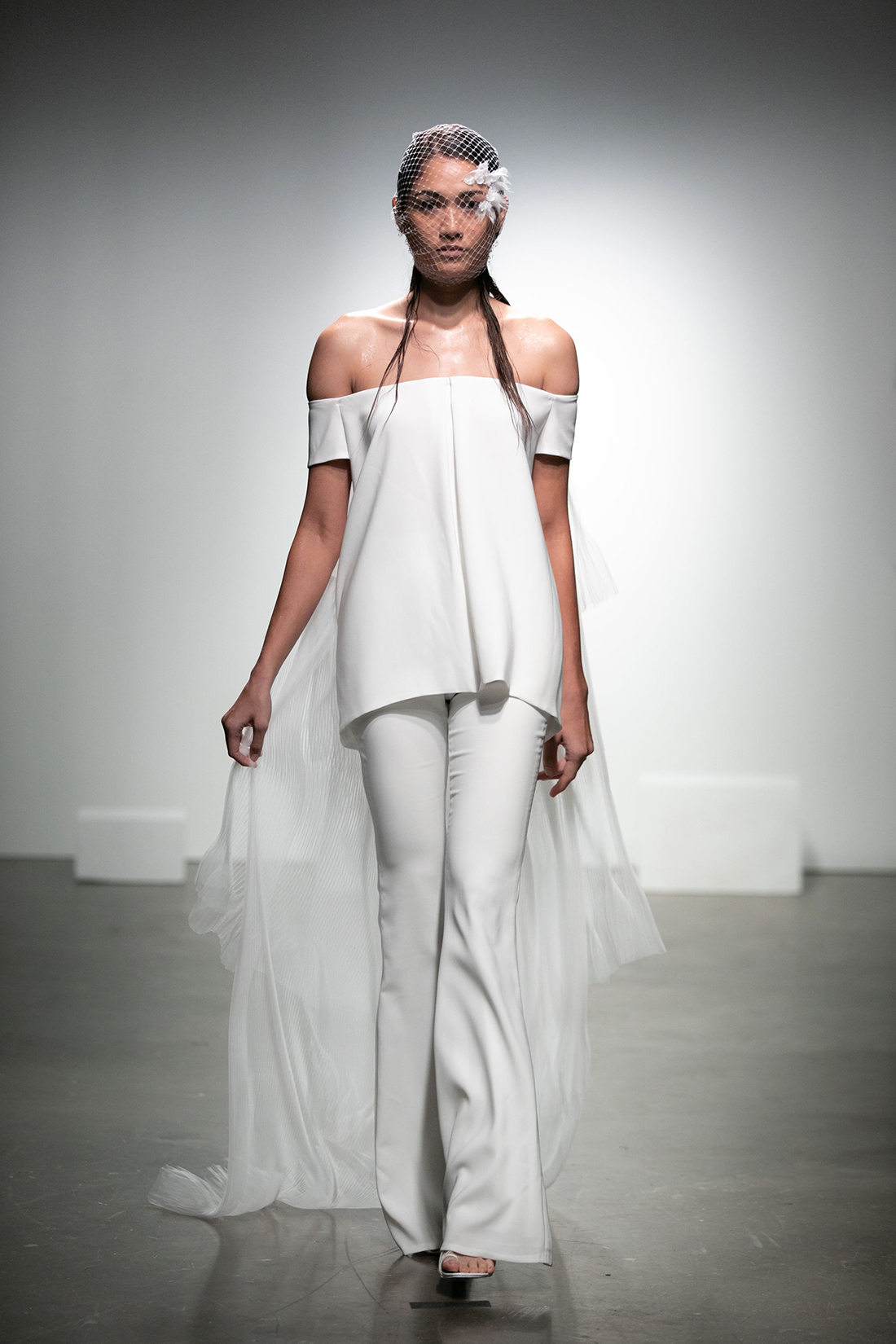 rime arodaky fall 2019 flair pants off the shoulder short sleeves sheer train