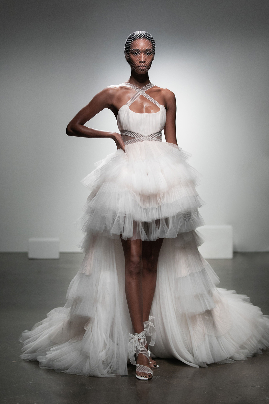 rime arodaky fall 2019 high low halter peekaboo cutouts tulle train