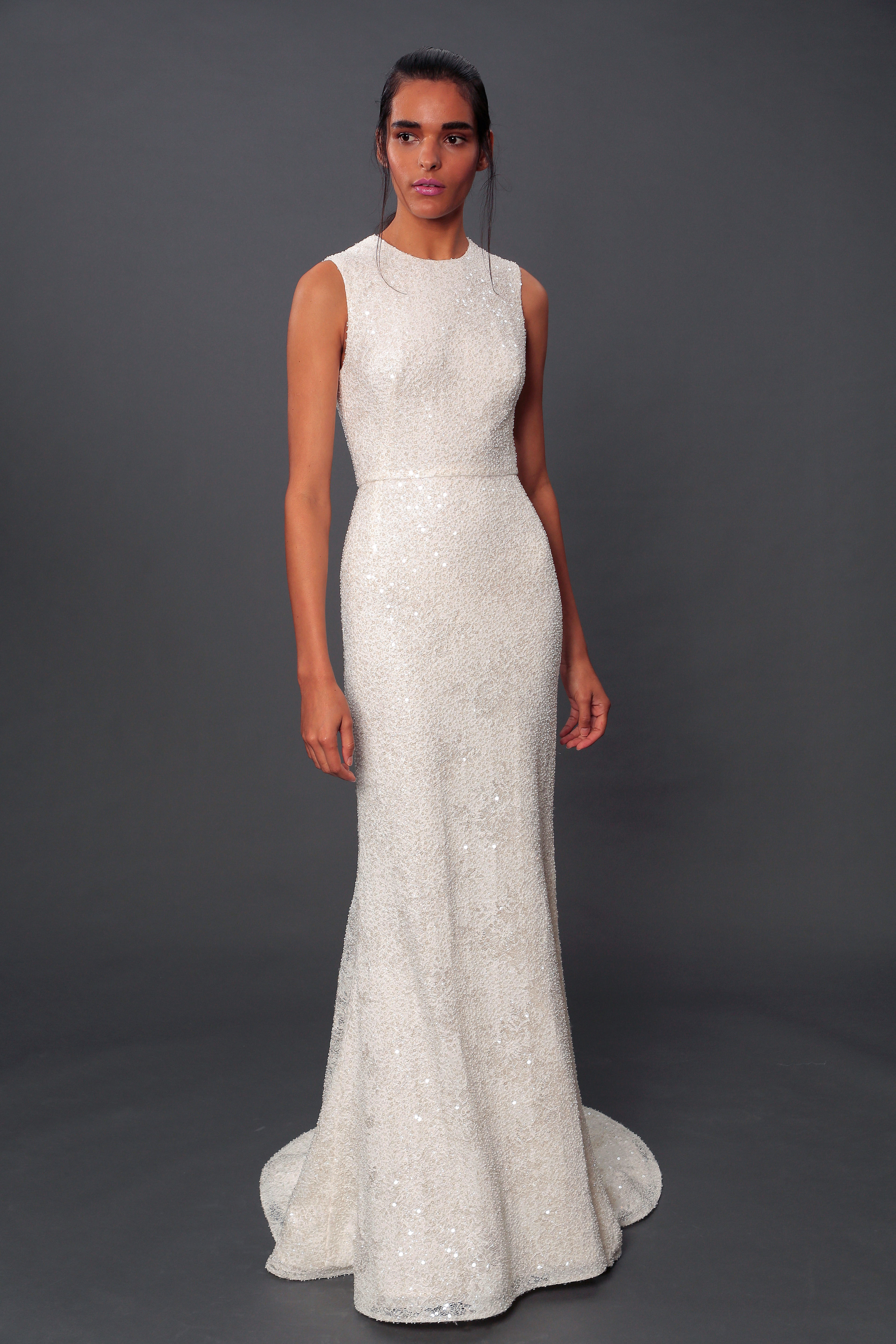 isabelle armstrong fall 2019 sheath high neck glitter wedding dress