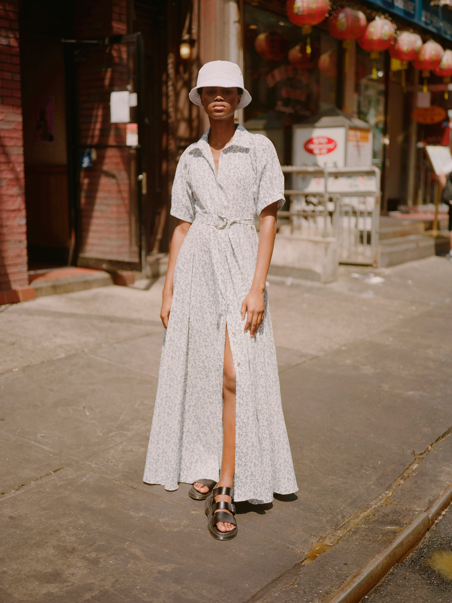 lein fall 2019 belted grey floral patterned short sleeved a-line dress with collar and slit