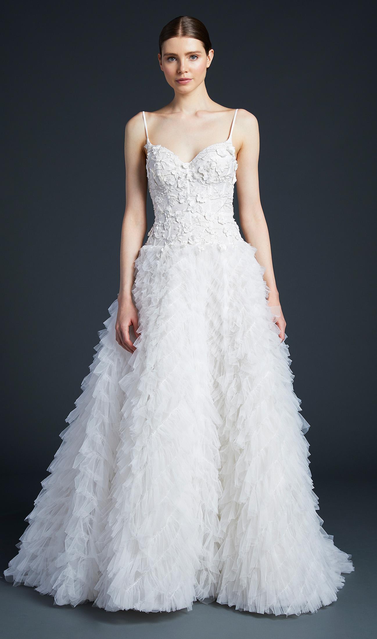 anne barge spaghetti strap feathers wedding dress fall 2019