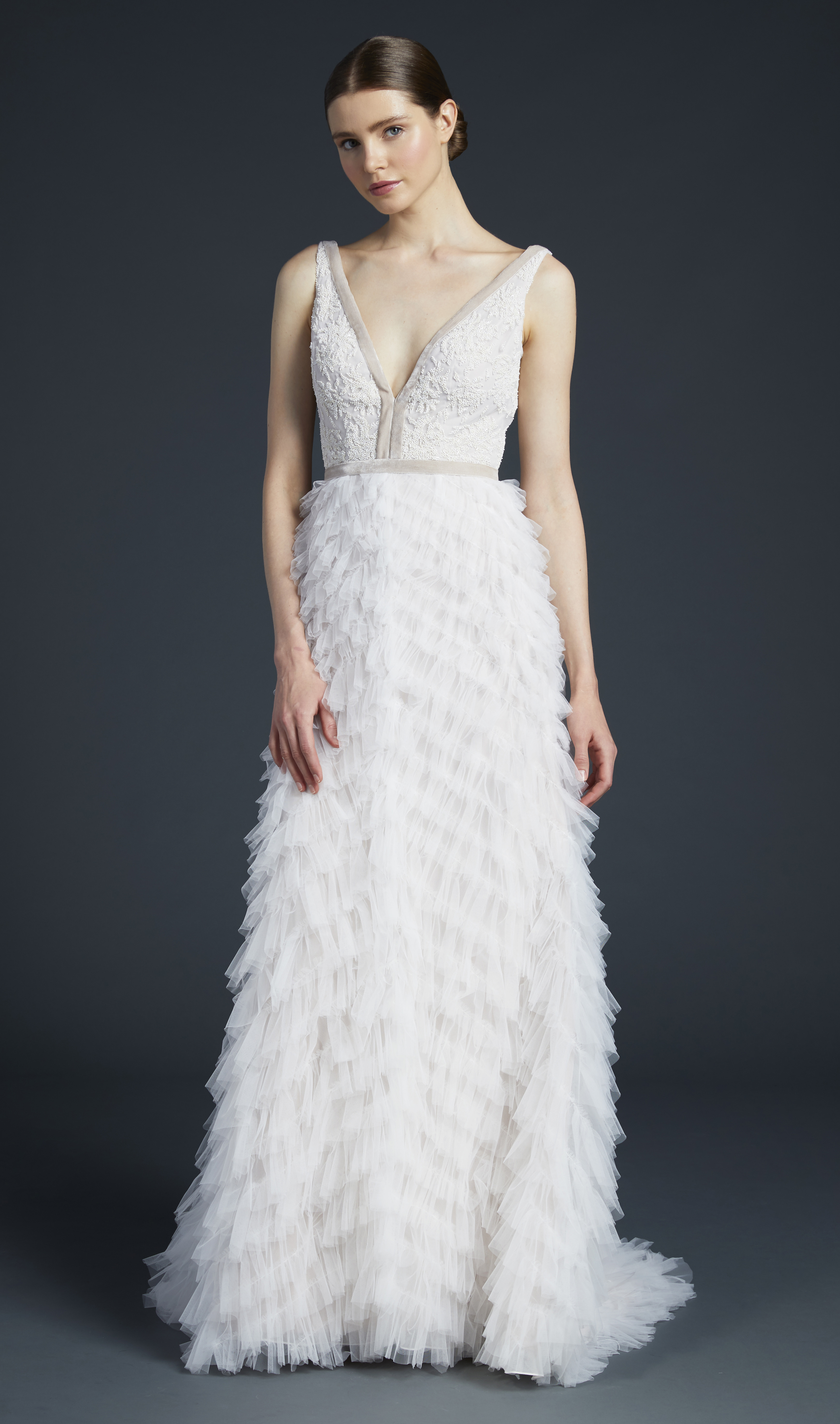 anne barge v-neck feathers wedding dress fall 2019