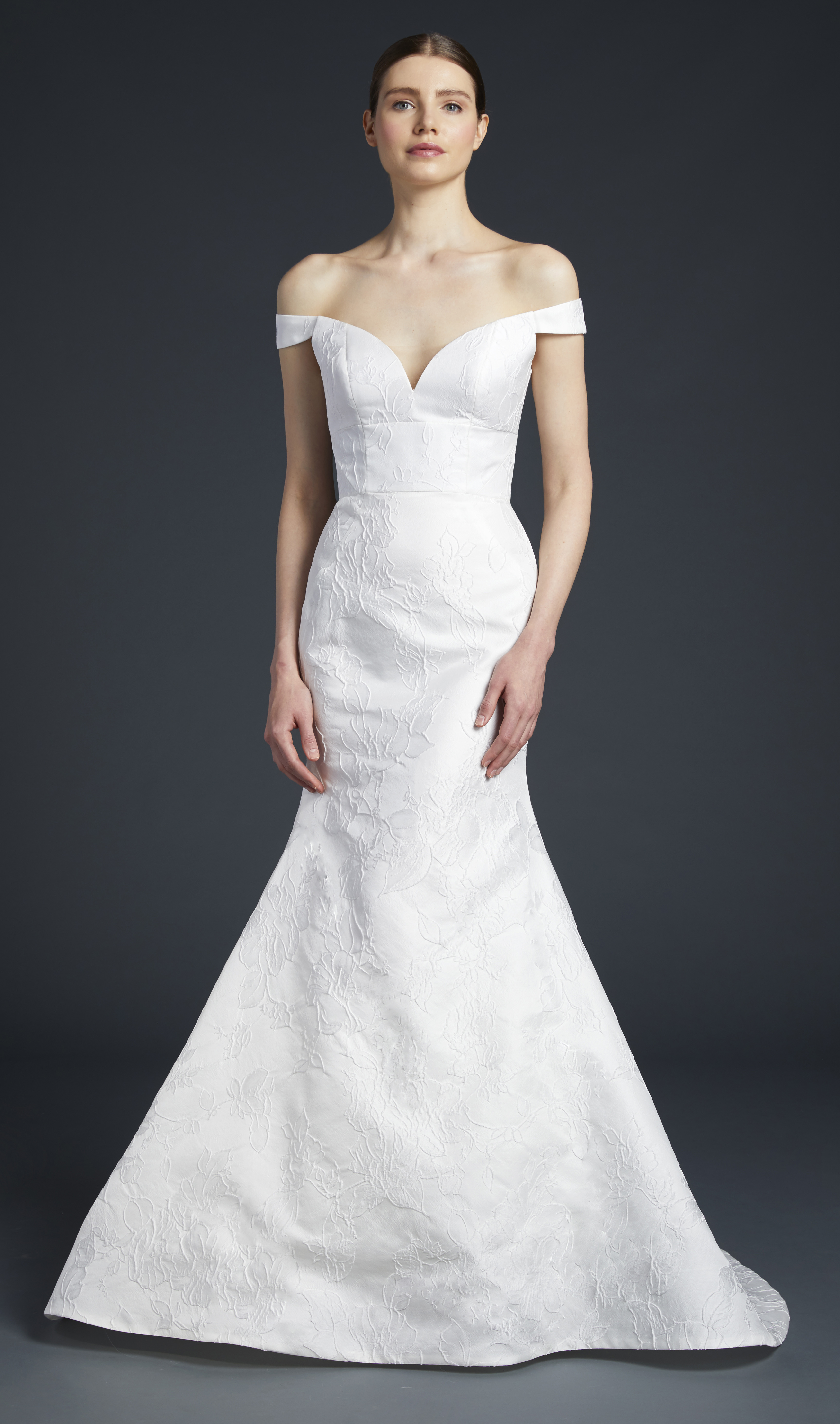 anne barge off the shoulder sweetheart trumpet wedding dress fall 2019