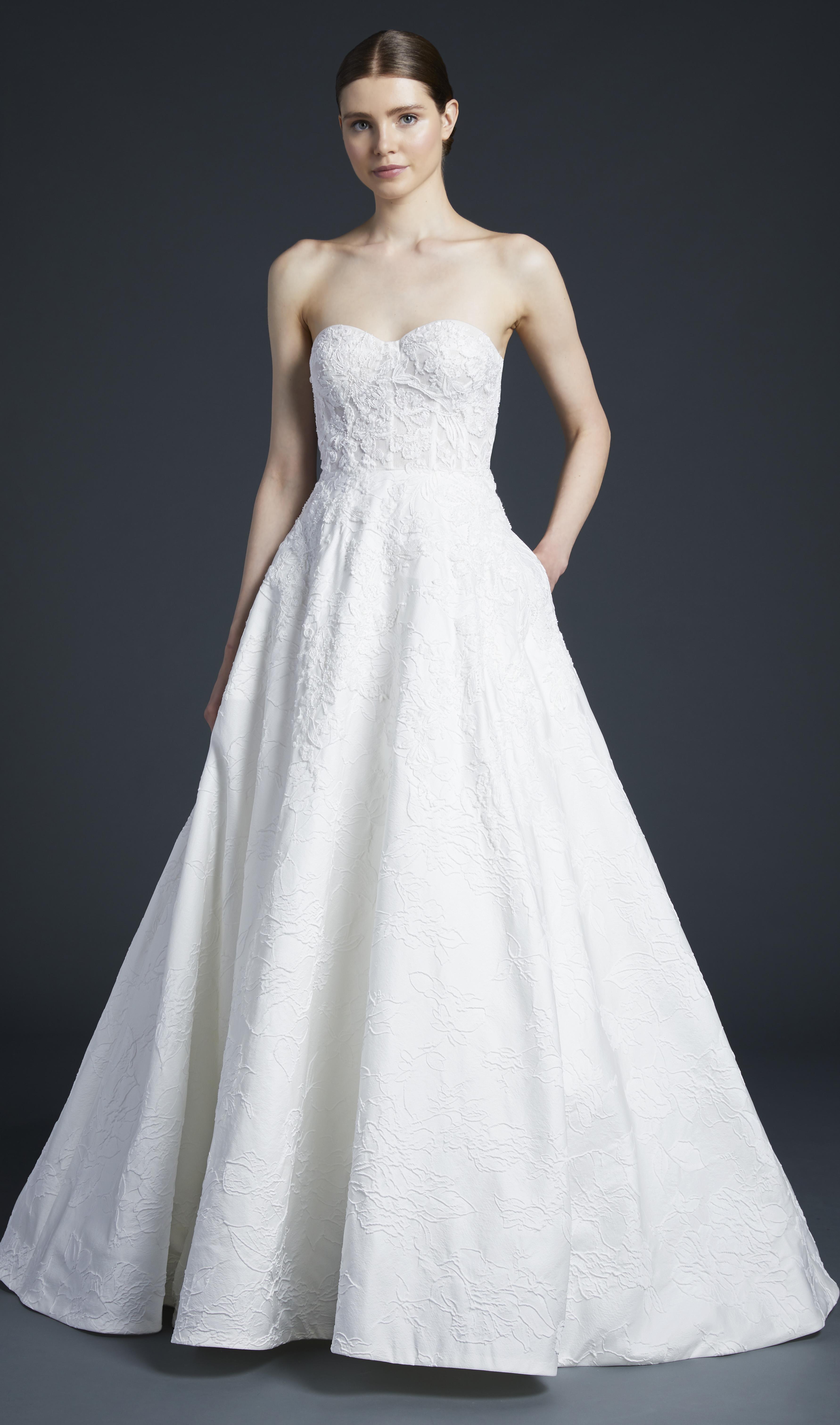 anne barge patterned sweetheart wedding dress fall 2019