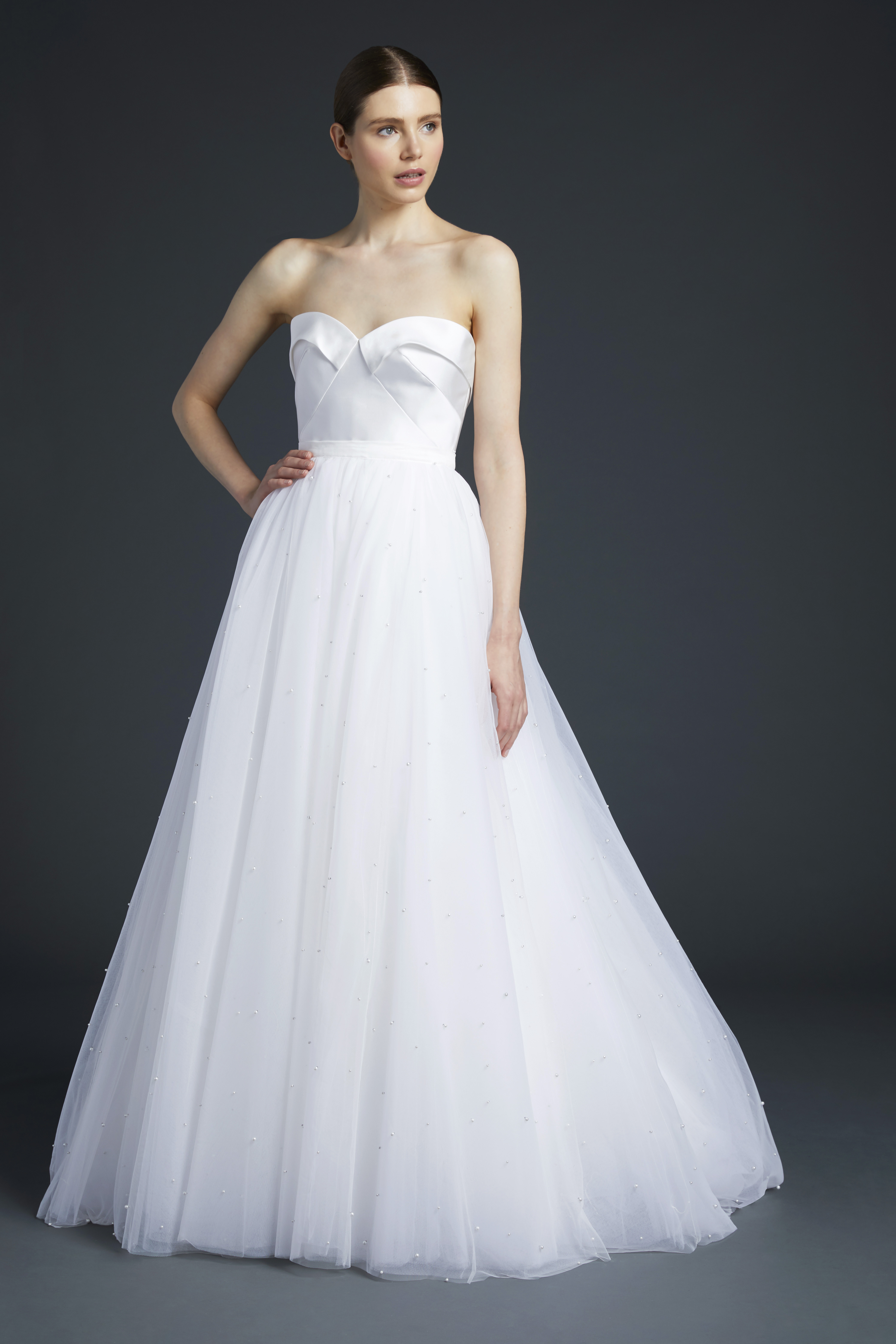 anne barge pleated off the shoulder sweetheart wedding dress fall 2019