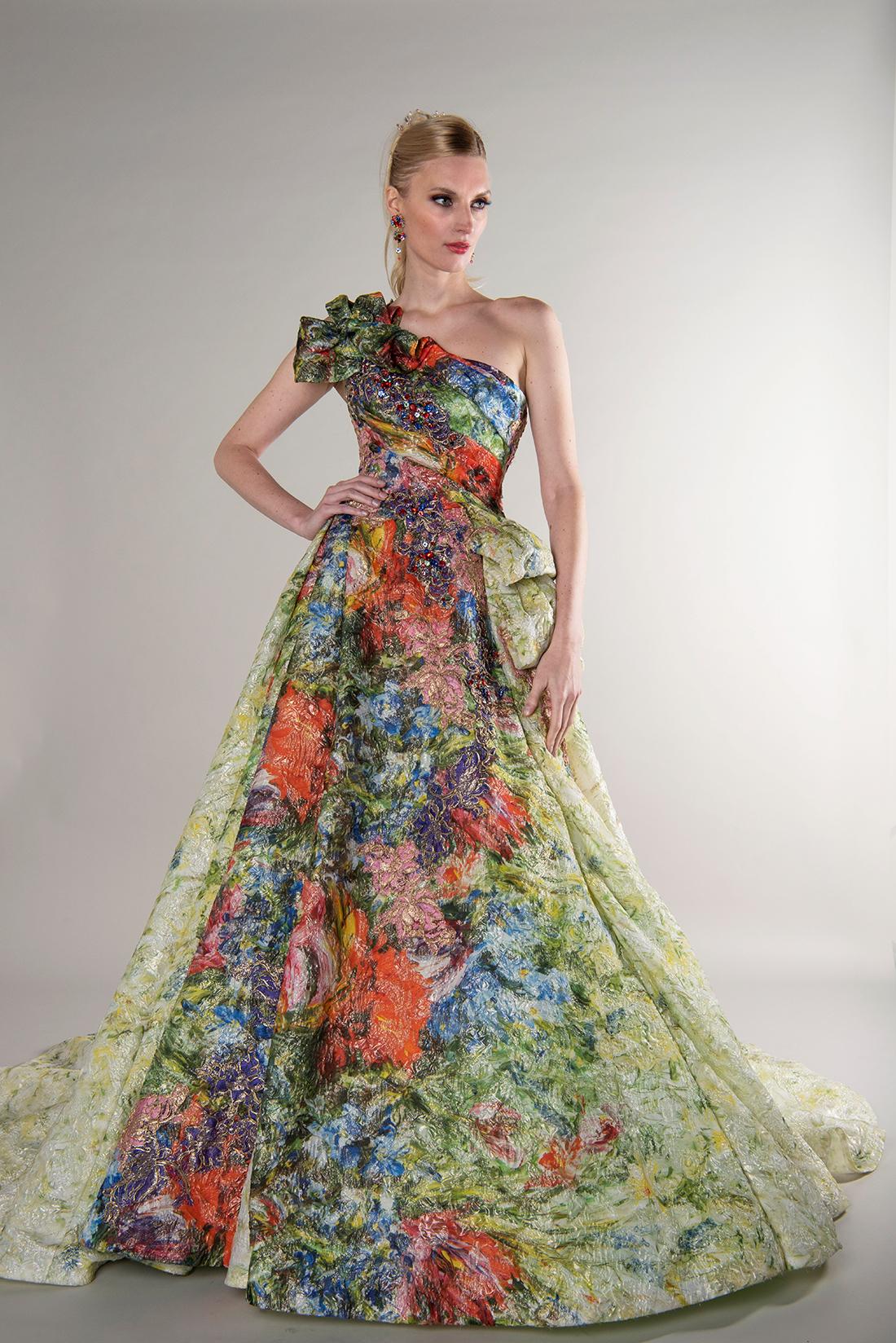 yumi katsura fall 2019 ball gown asymmetrical one strap colorful pattern