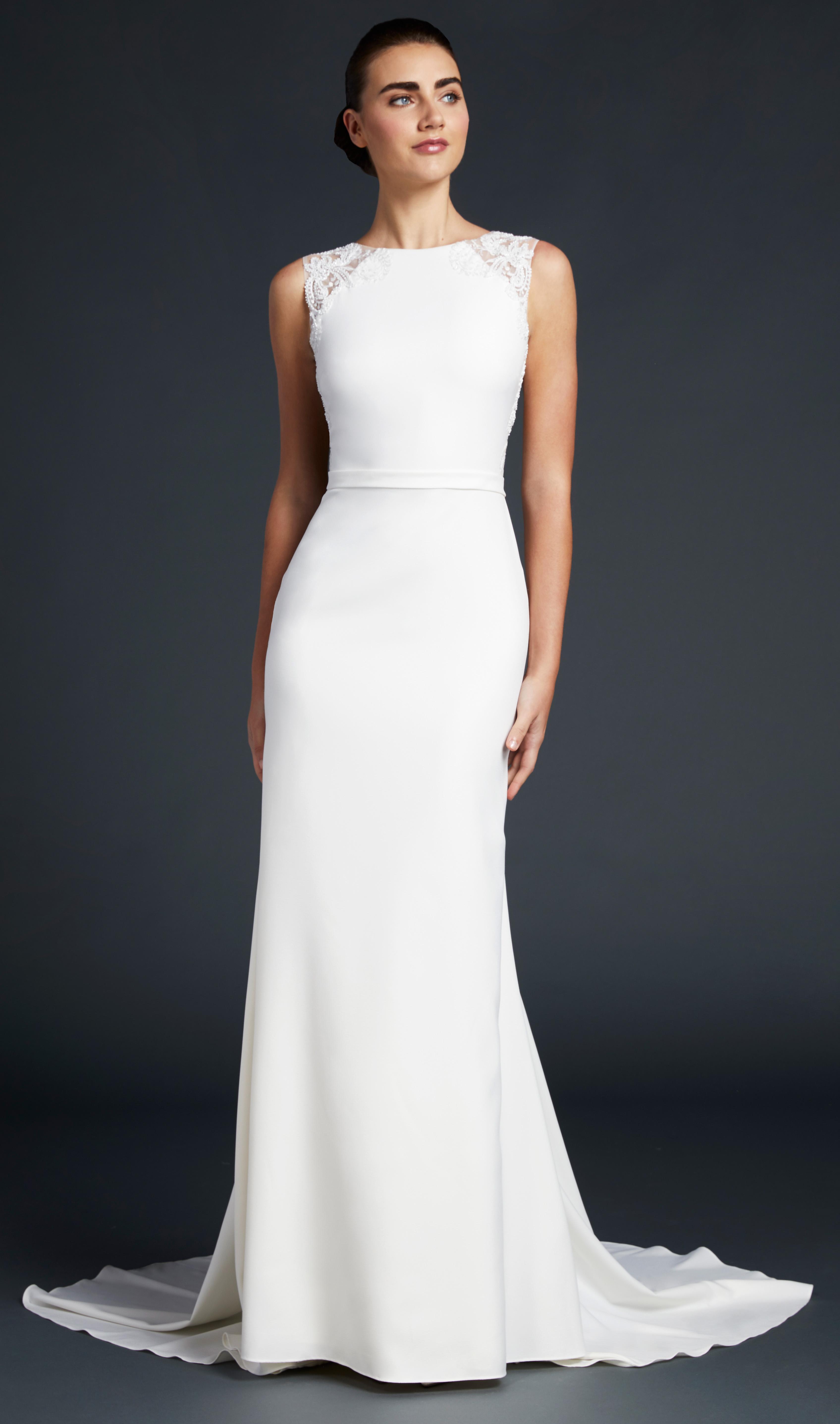 blue willow wedding dress sleeveless high neck lace shoulder detail