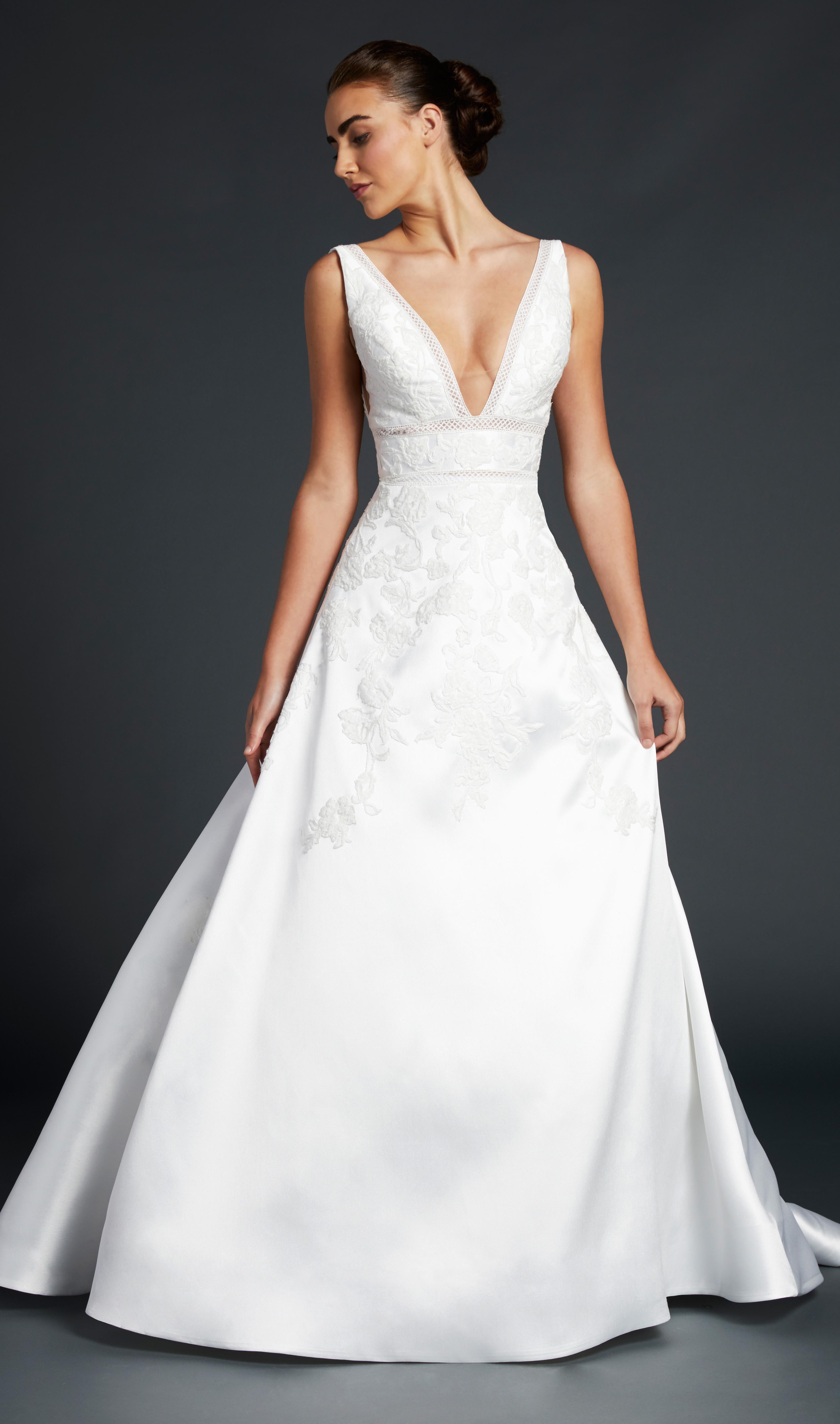 blue willow wedding dress sleeveless deep v-neck a-line