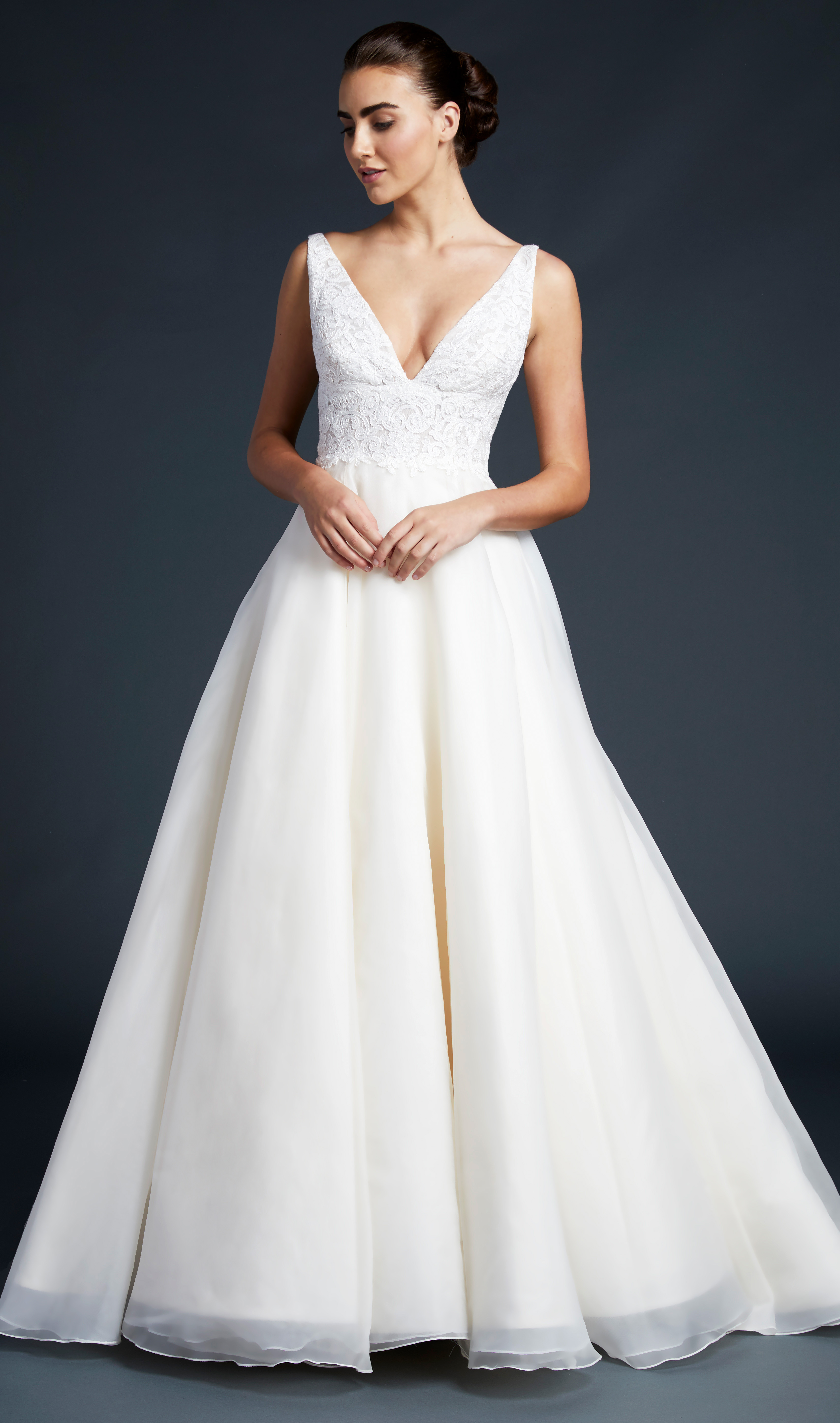 blue willow wedding dress v-neck lace top a-line