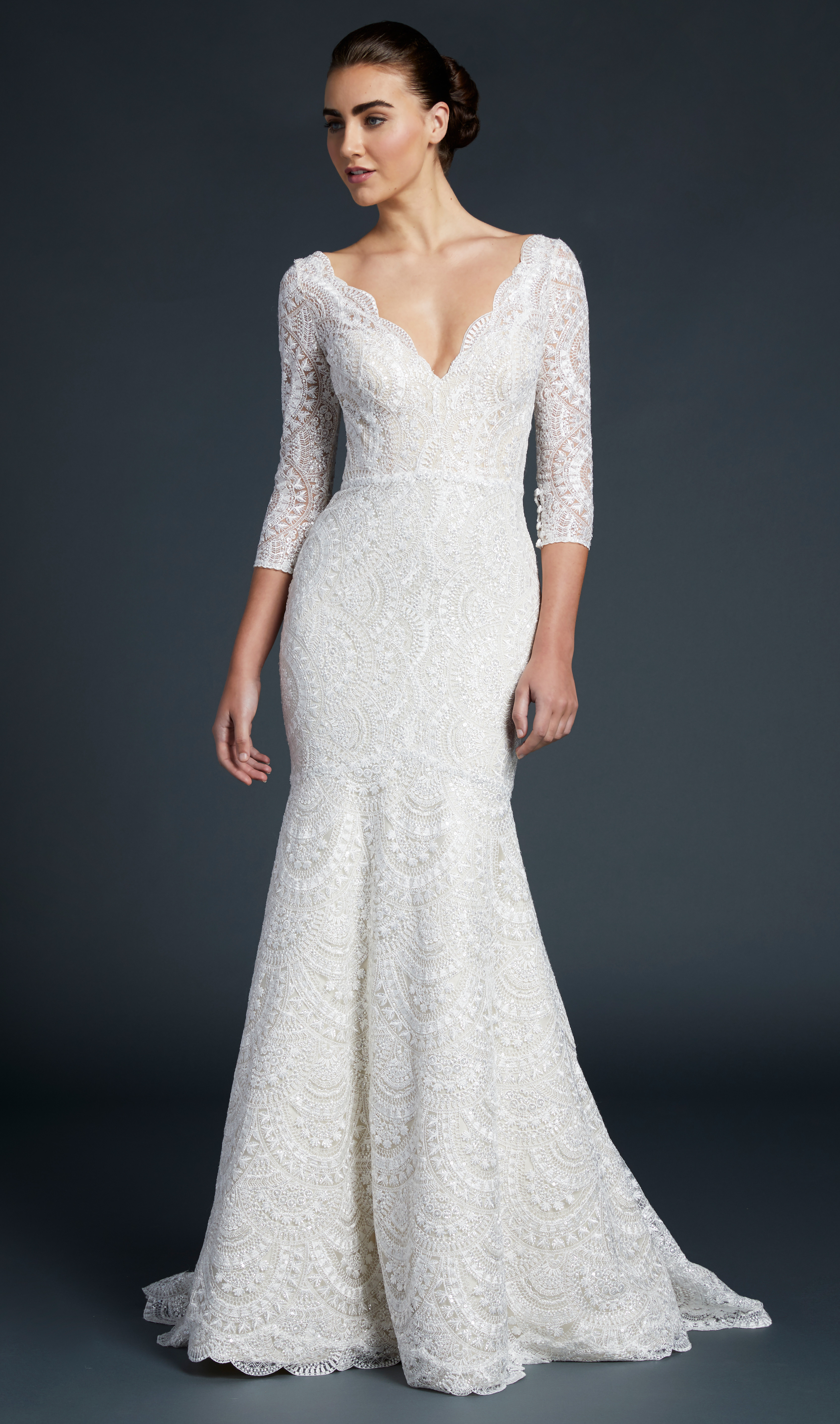 blue willow wedding dress three-quarter length sleeves lace v-neck trumpet
