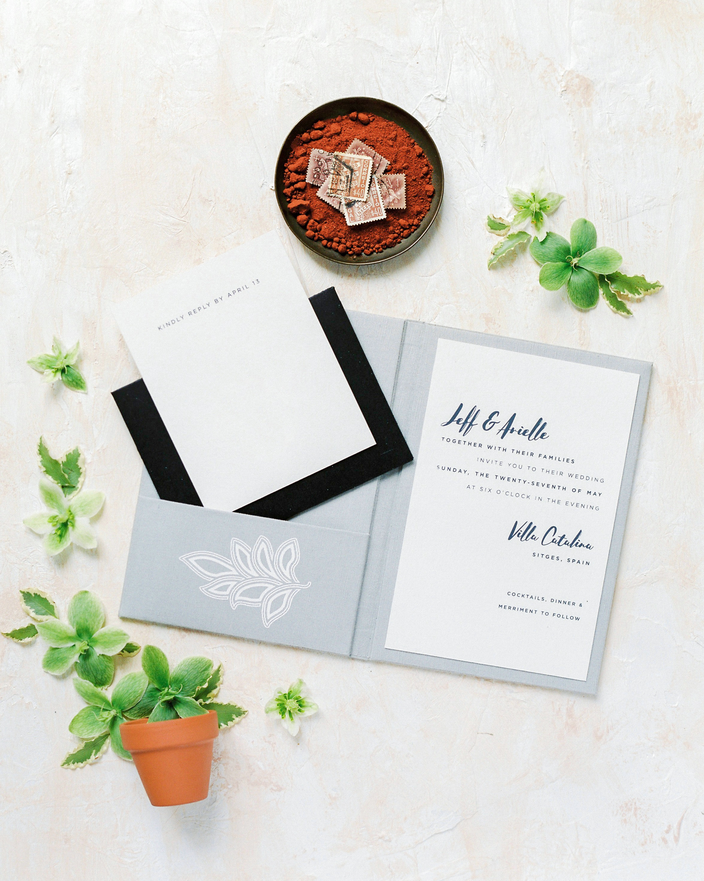 natural stationery suite gray linen pocket folder invitation