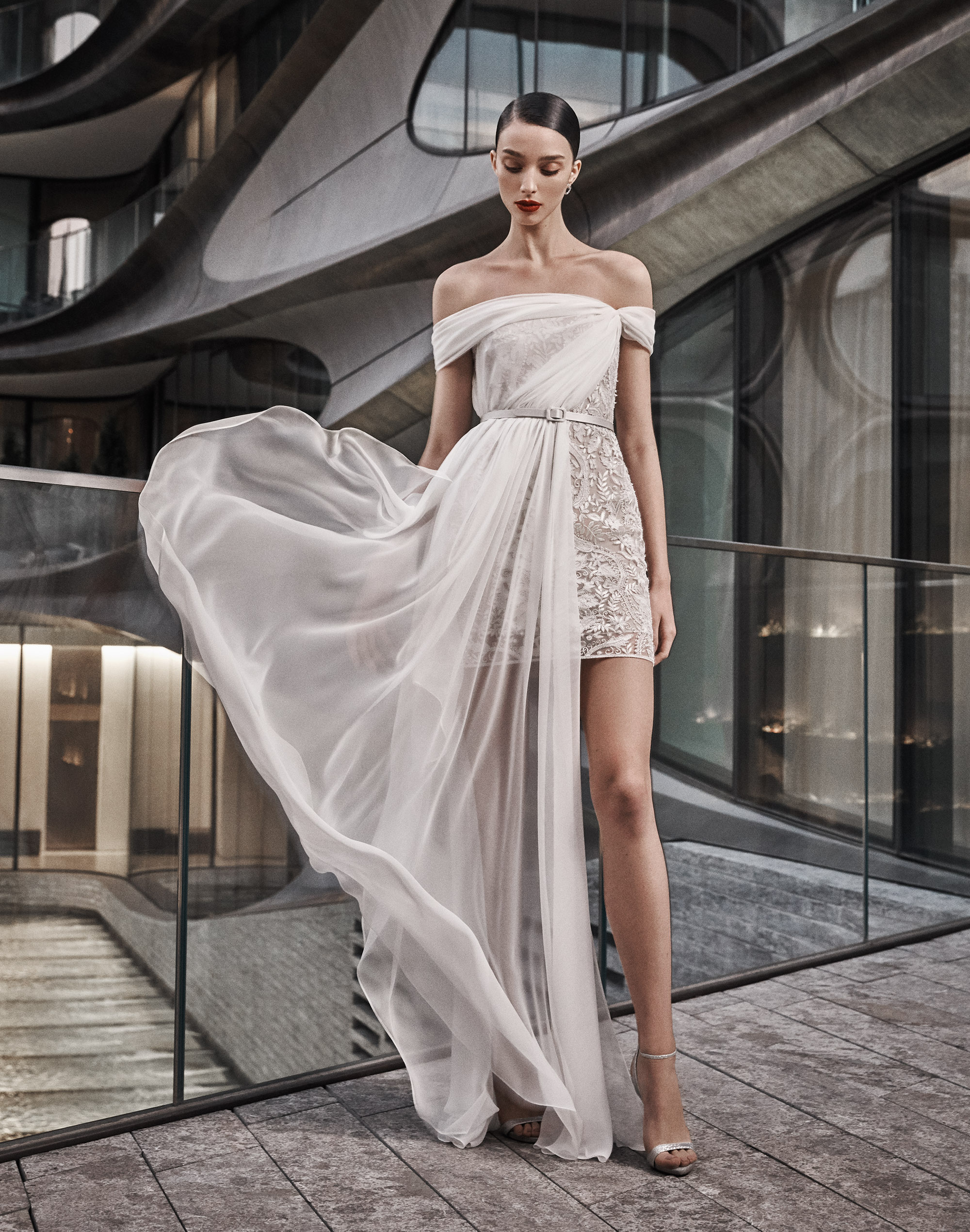naeem khan wedding dress off the shoulder short with sheer long overlay skirt