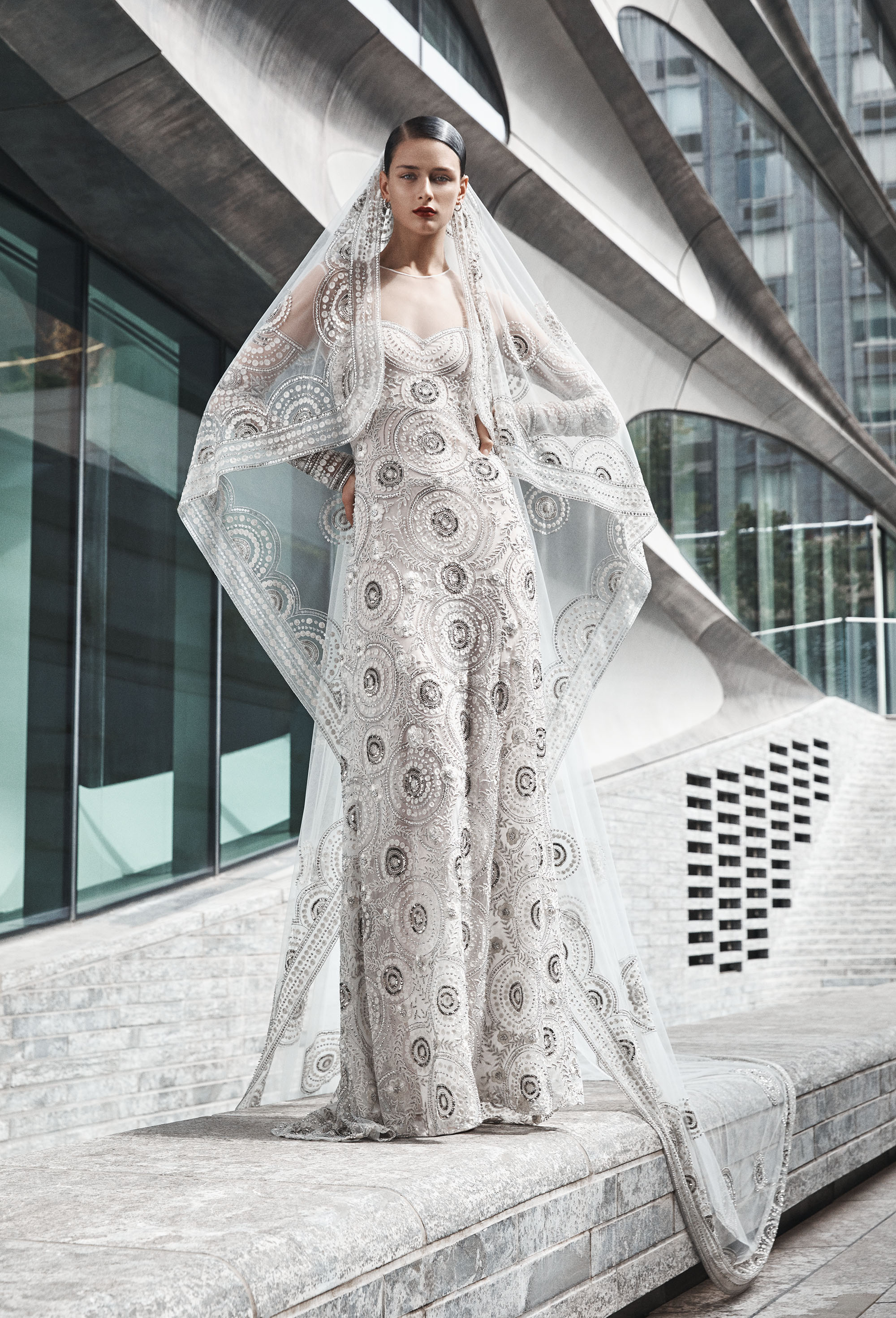 naeem khan wedding dress illusion long sleeves sheath with applique design