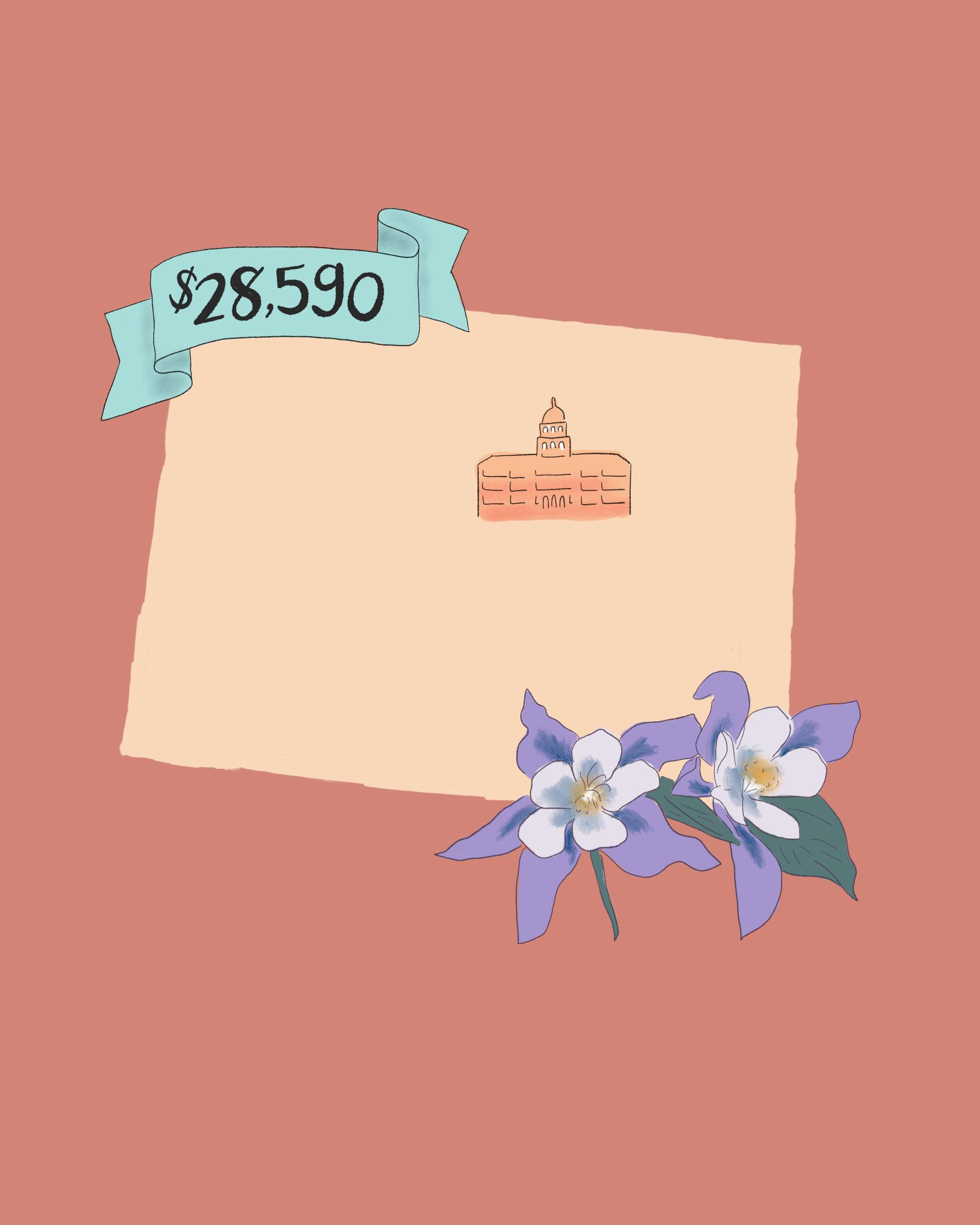 state wedding costs illustration colorado