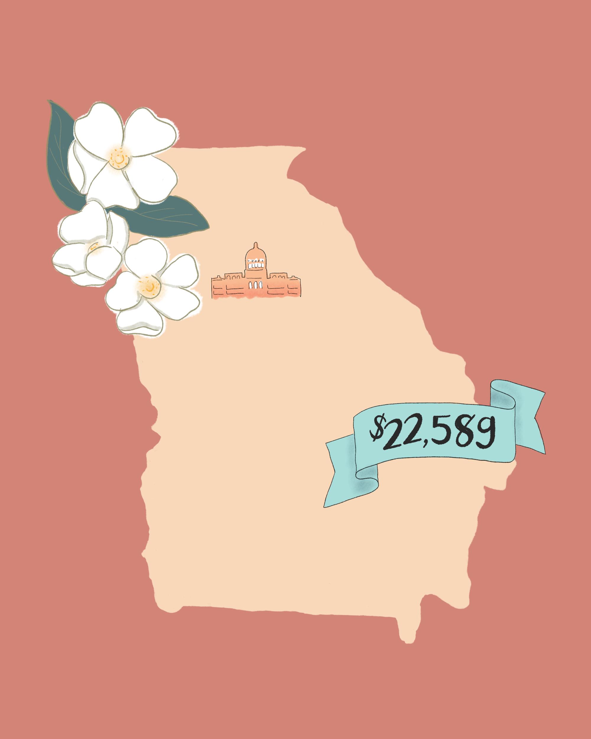state wedding costs illustration georgia