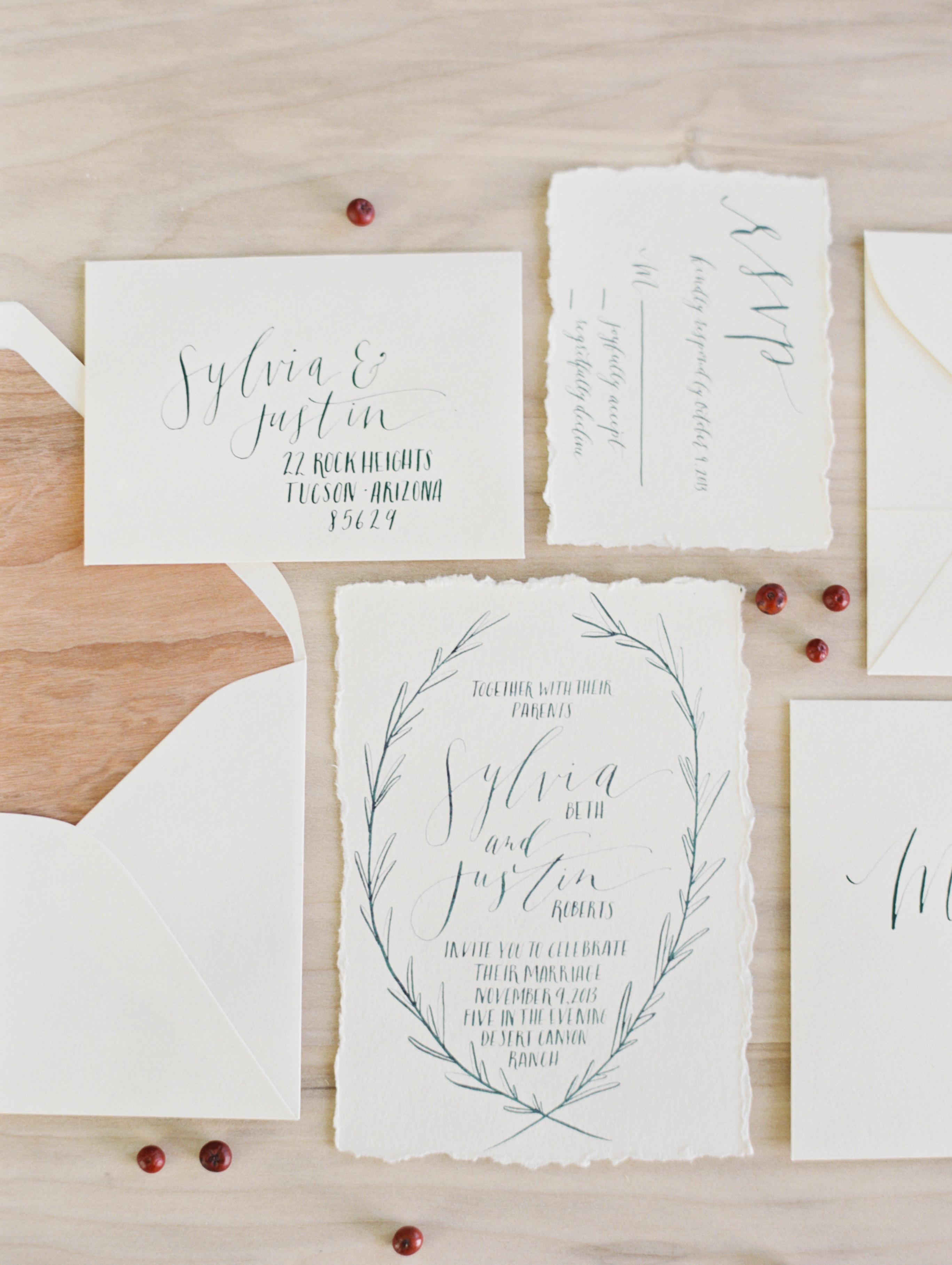 wedding invitation with wood-inspired envelope liner
