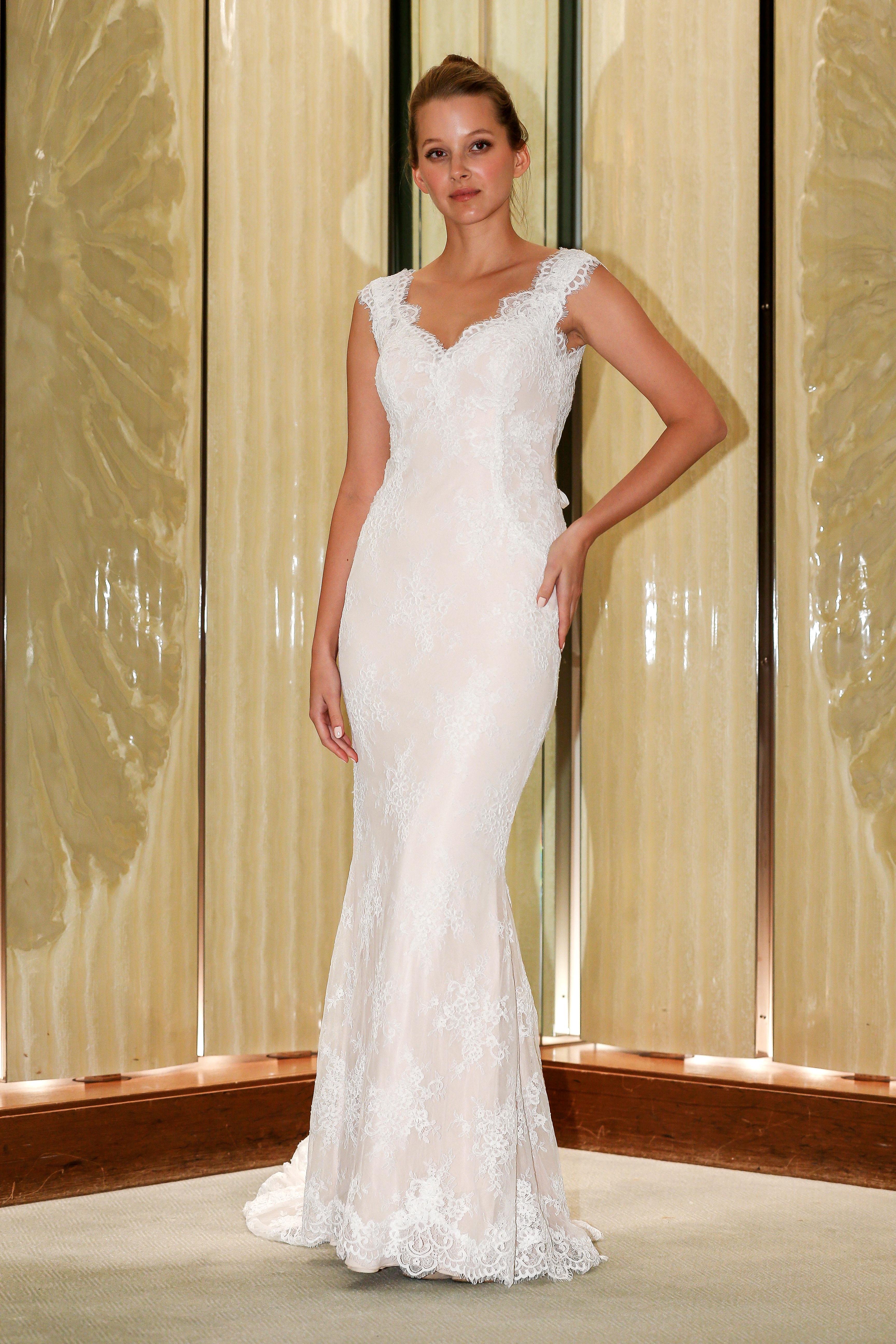 randy fenoli wedding dress lace cap sleeves trumpet