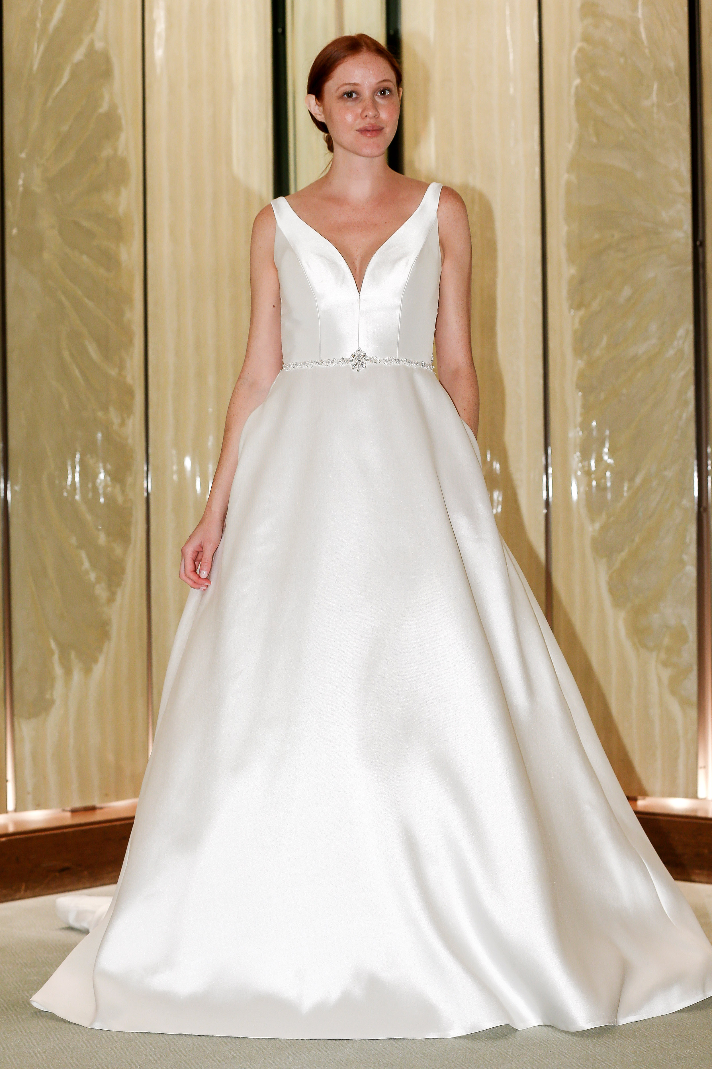 randy fenoli wedding dress satin v-neck a-line