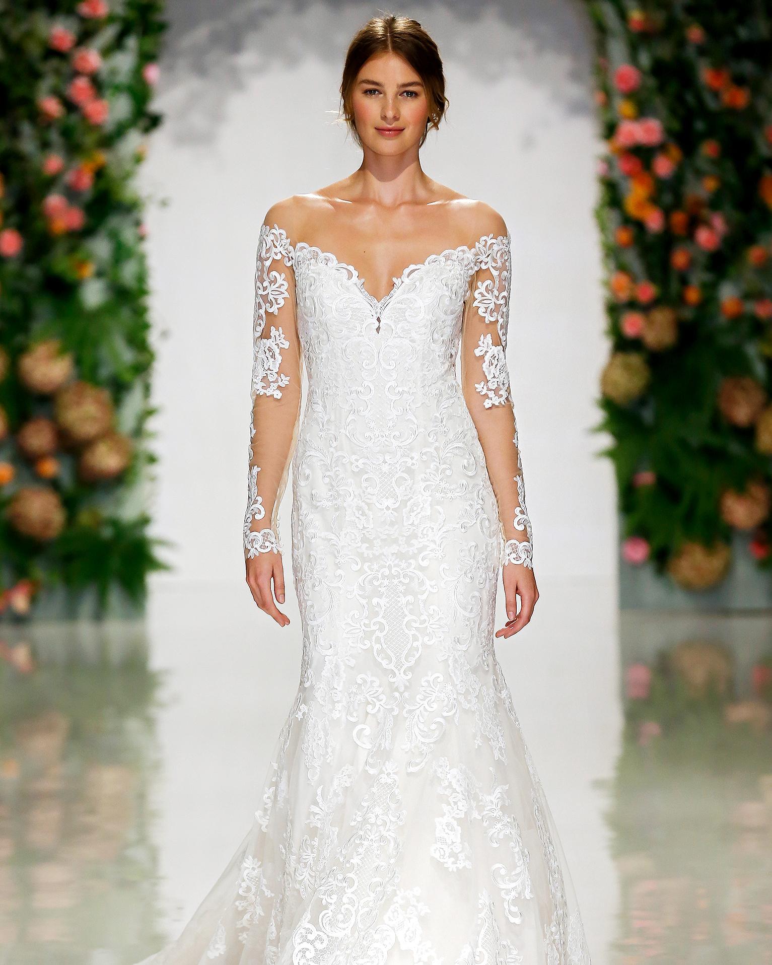 morilee madeline gardner wedding dress off-the-shoulder sheer long sleeves