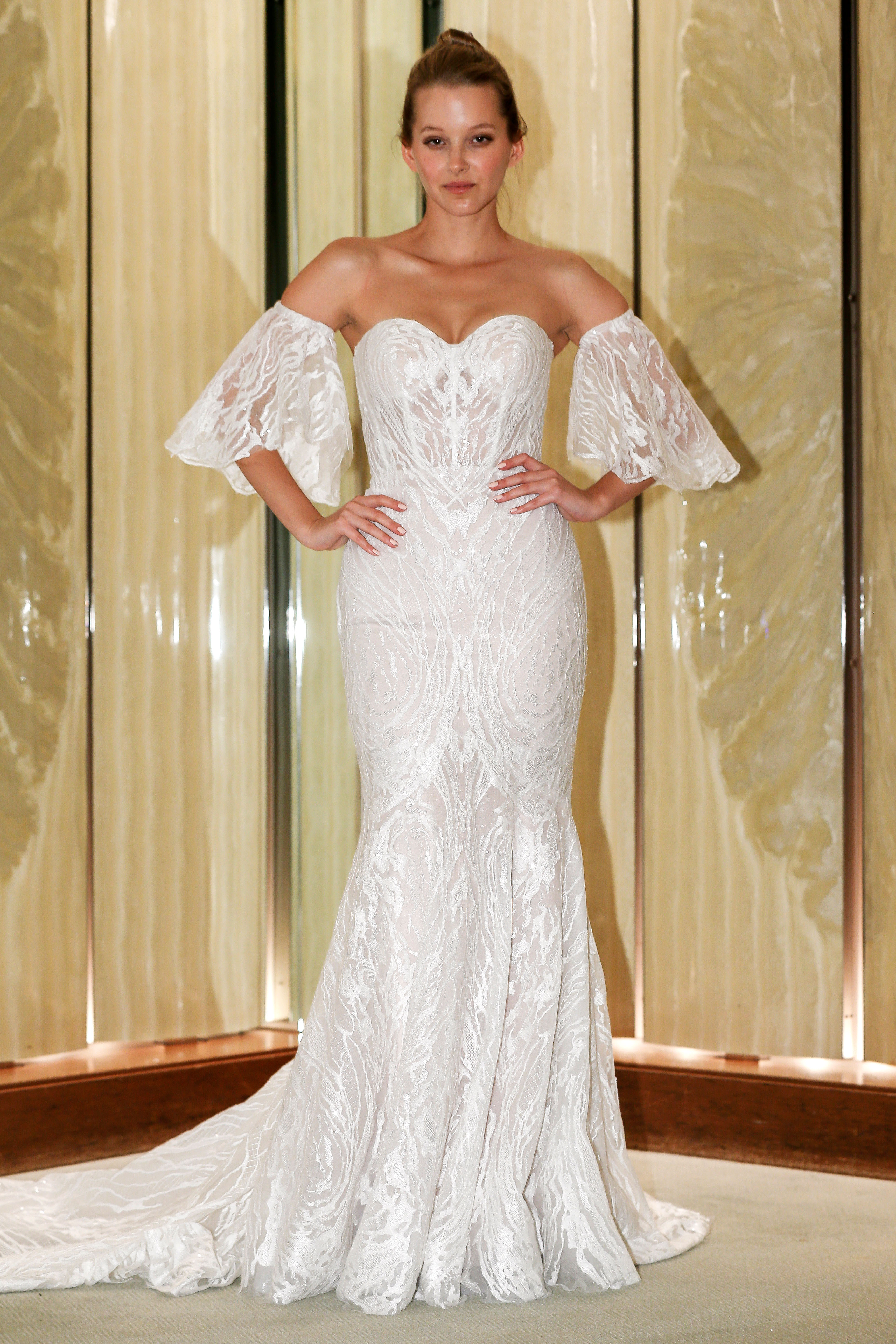 randy fenoli wedding dress sweetheart embellished trumpet with separate bell sleeves