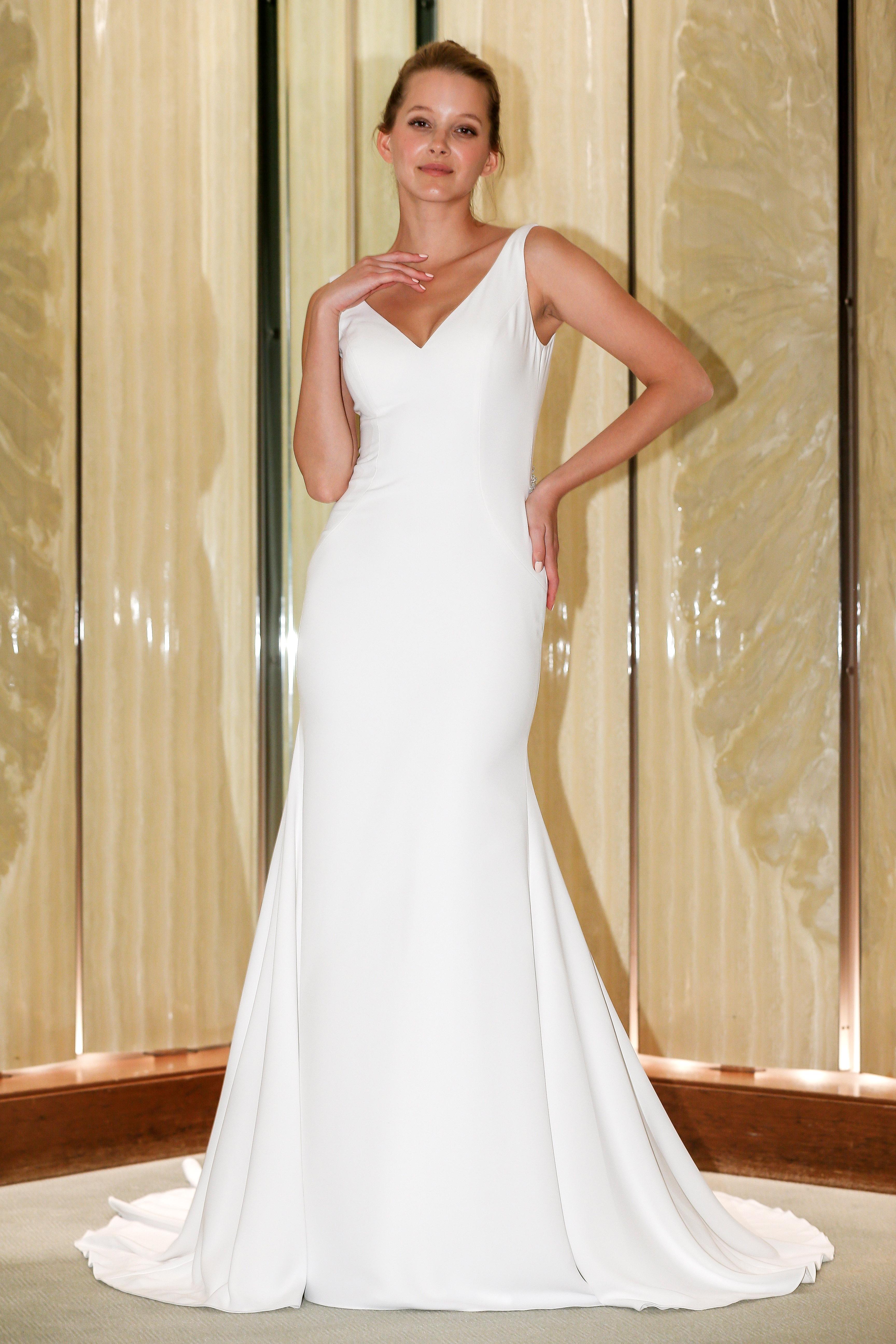 randy fenoli wedding dress sleeveless v-neck sheath with train