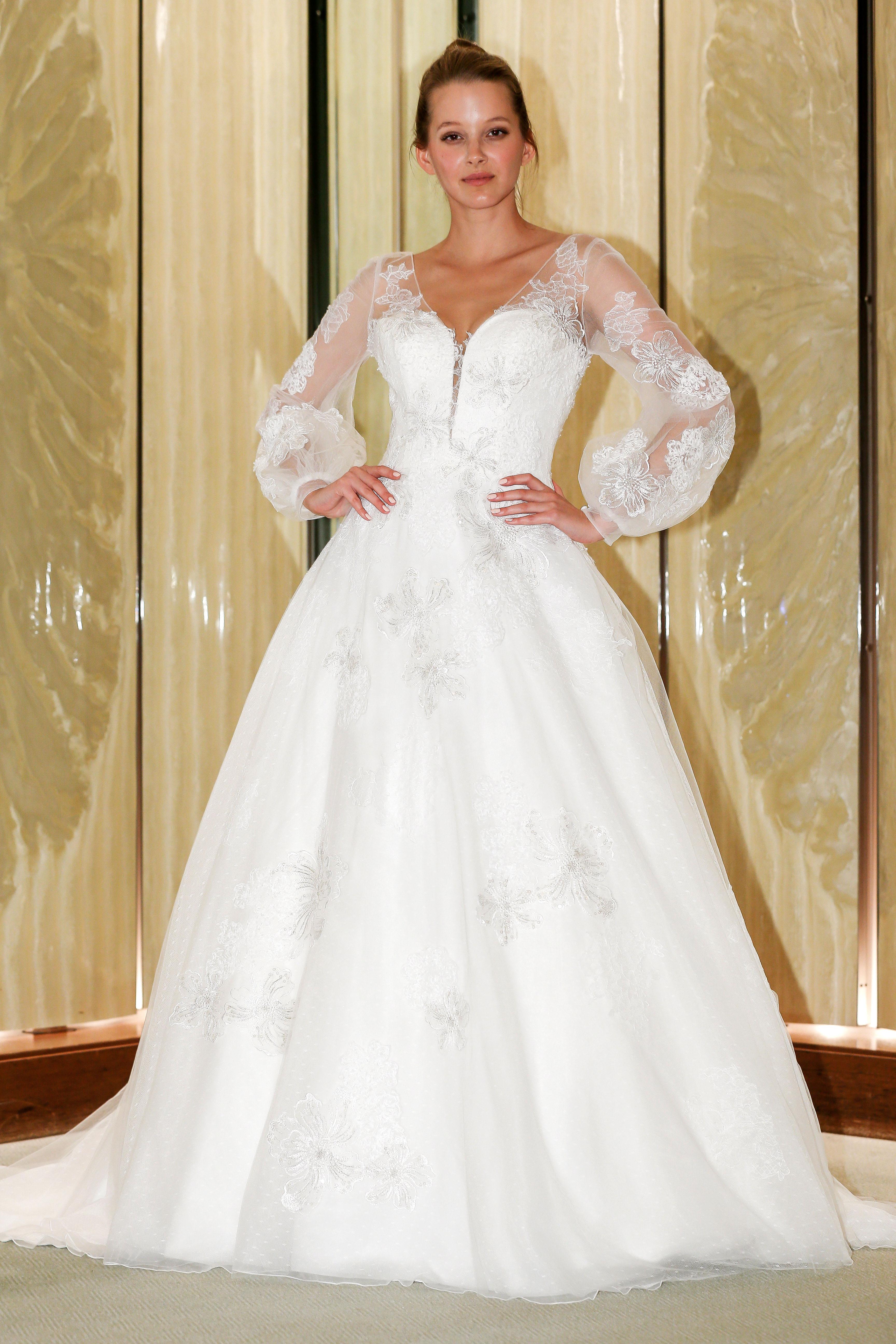 randy fenoli wedding dress long sleeves ball gown floral applique
