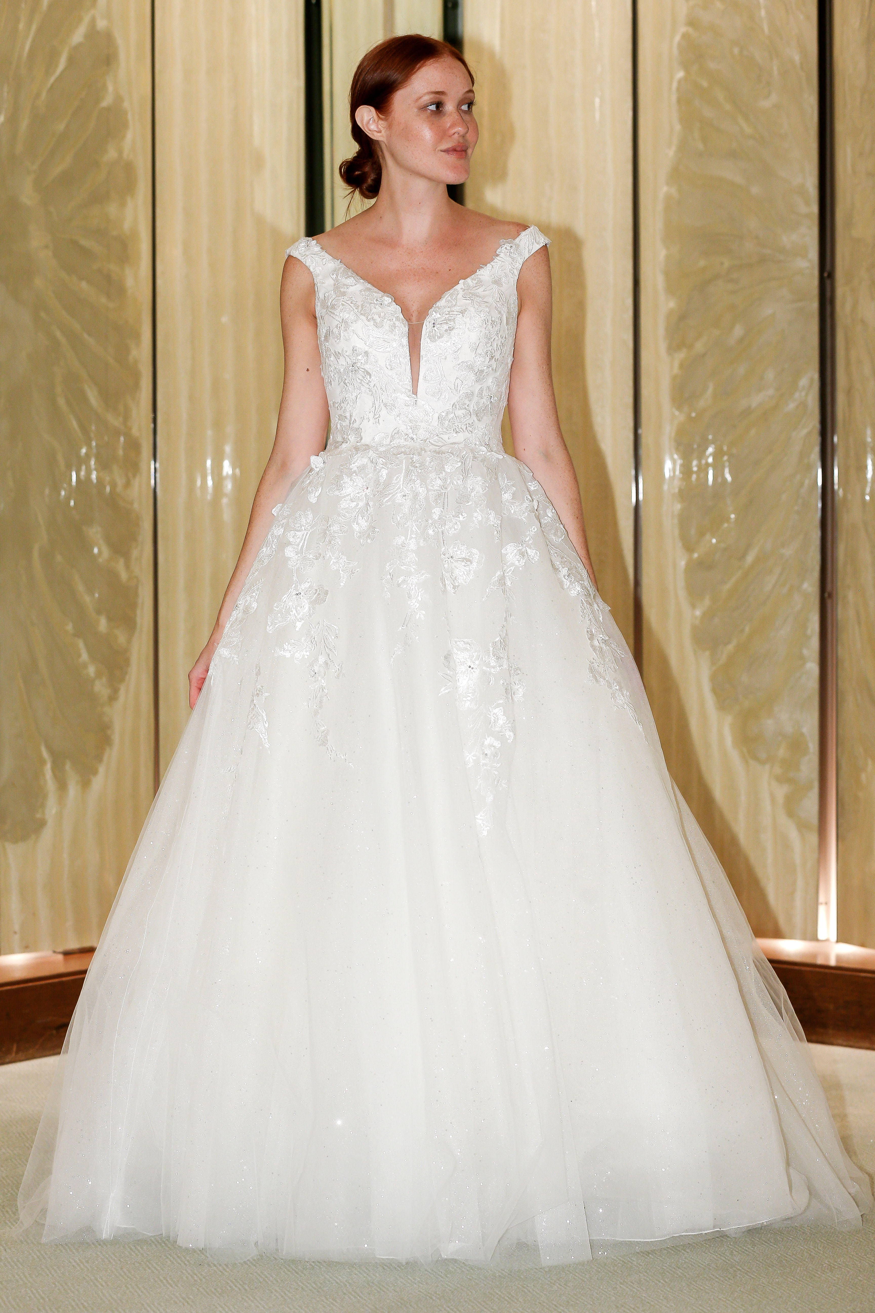 randy fenoli wedding dress off the shoulder metallic floral tulle ball gown