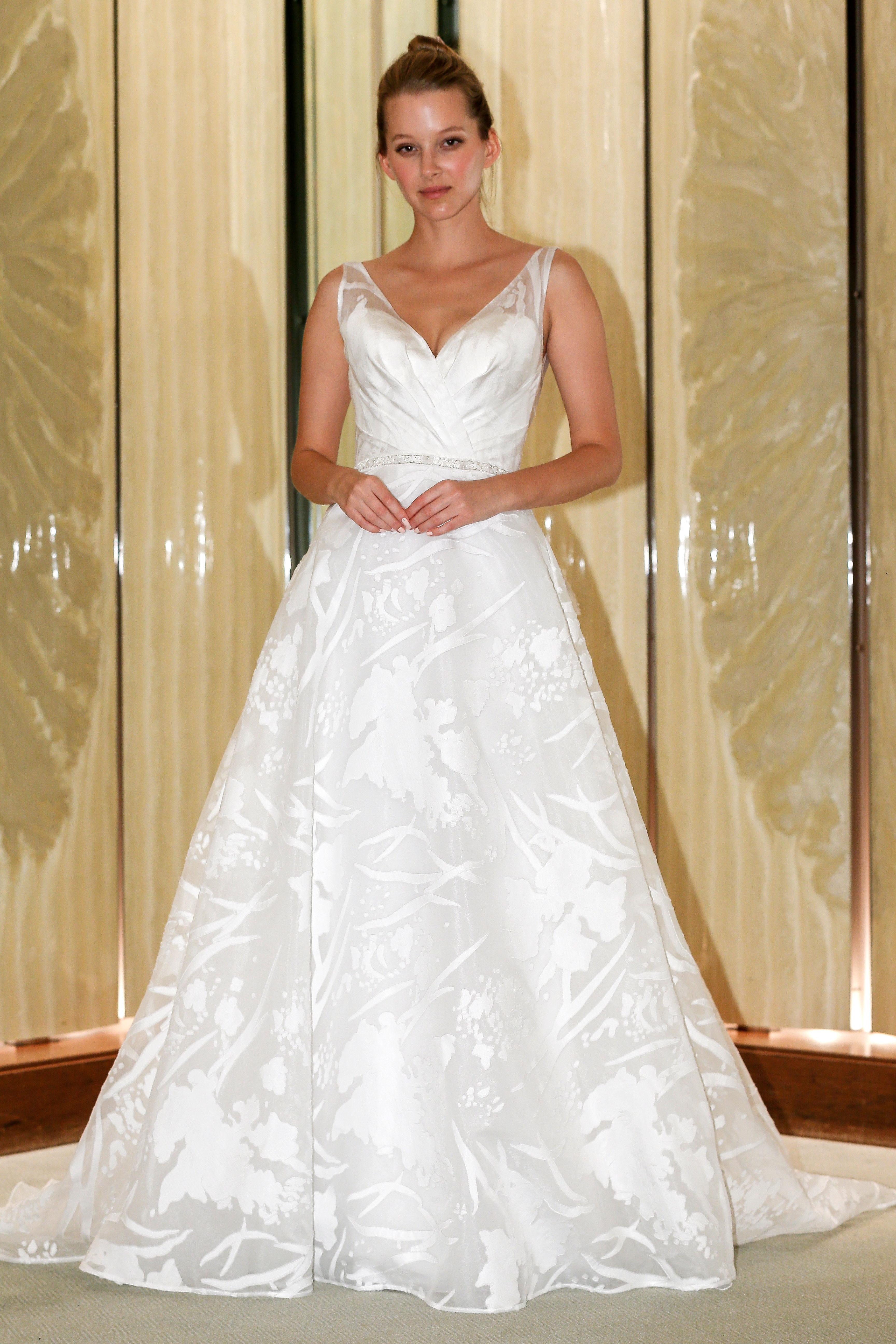 randy fenoli wedding dress v-neck a-line abstract design