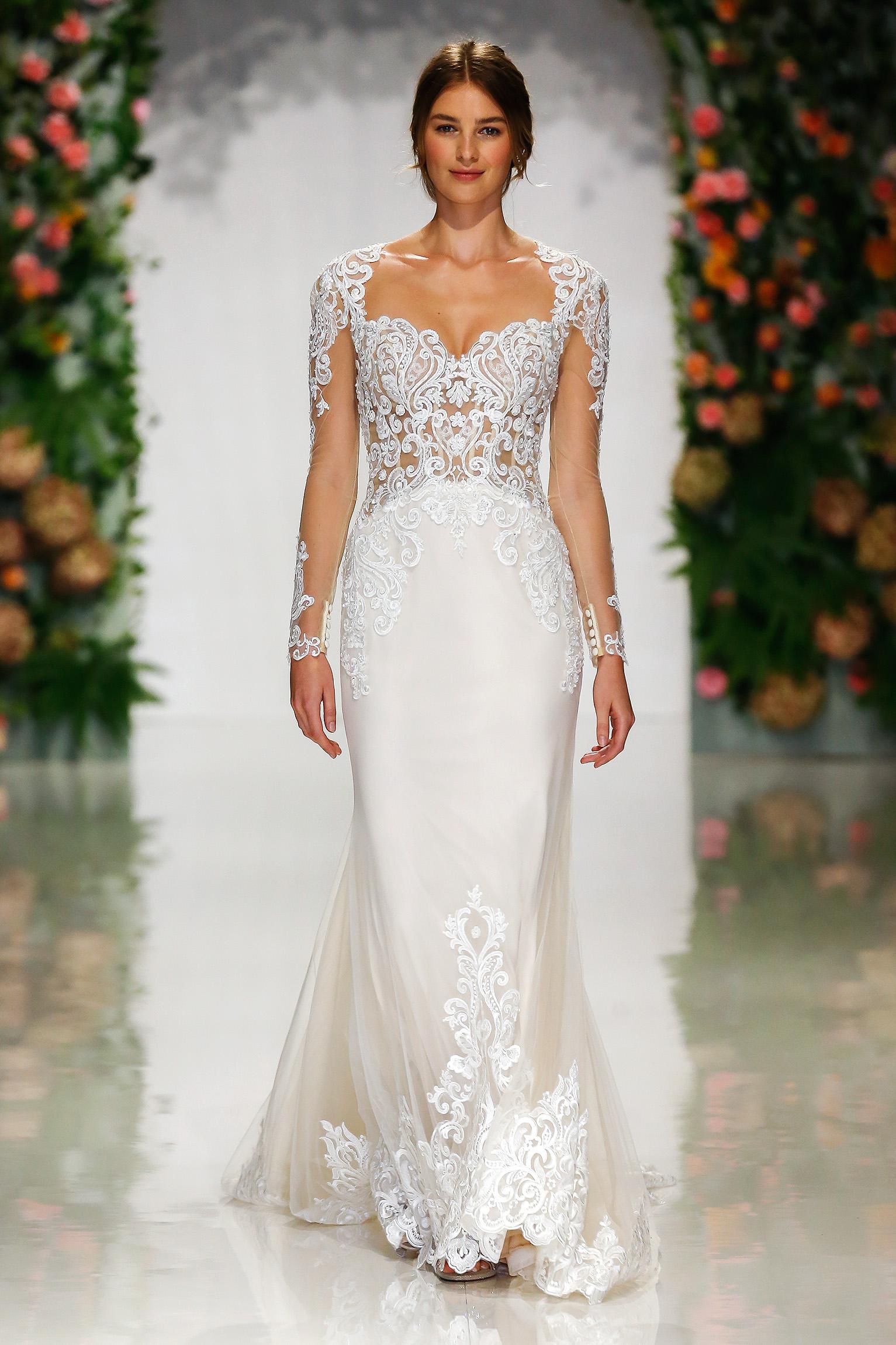 morilee madeline gardner fall 2019 lace sheer long sleeves sheath wedding dress
