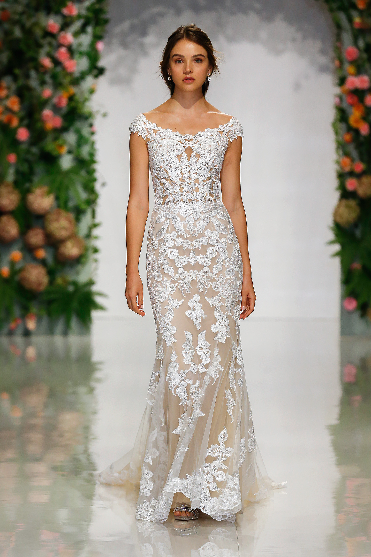 morilee madeline gardner fall 2019 scoop neck cap sleeve lace sheath wedding dress