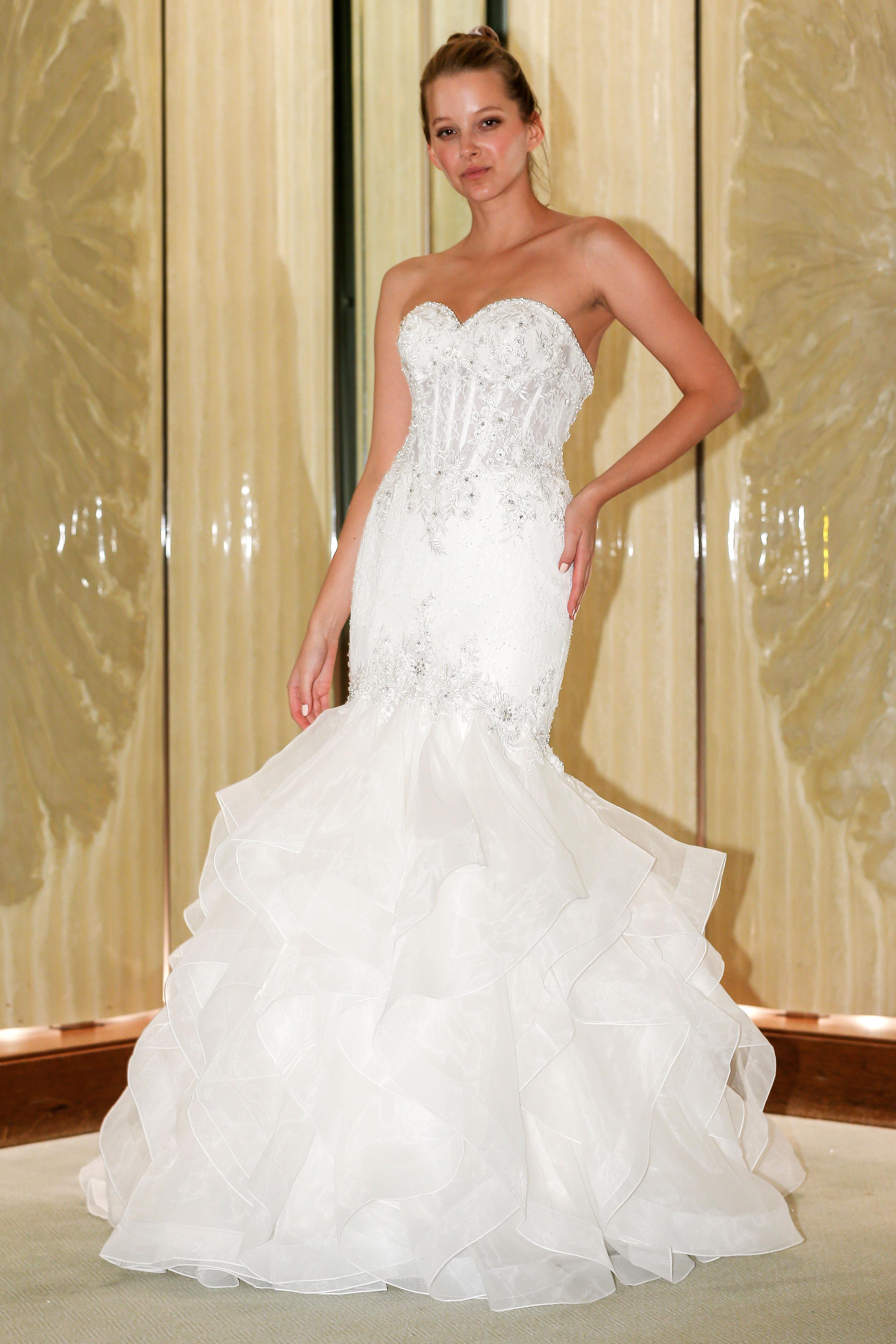 randy fenoli wedding dress sweetheart embellished ruffles mermaid
