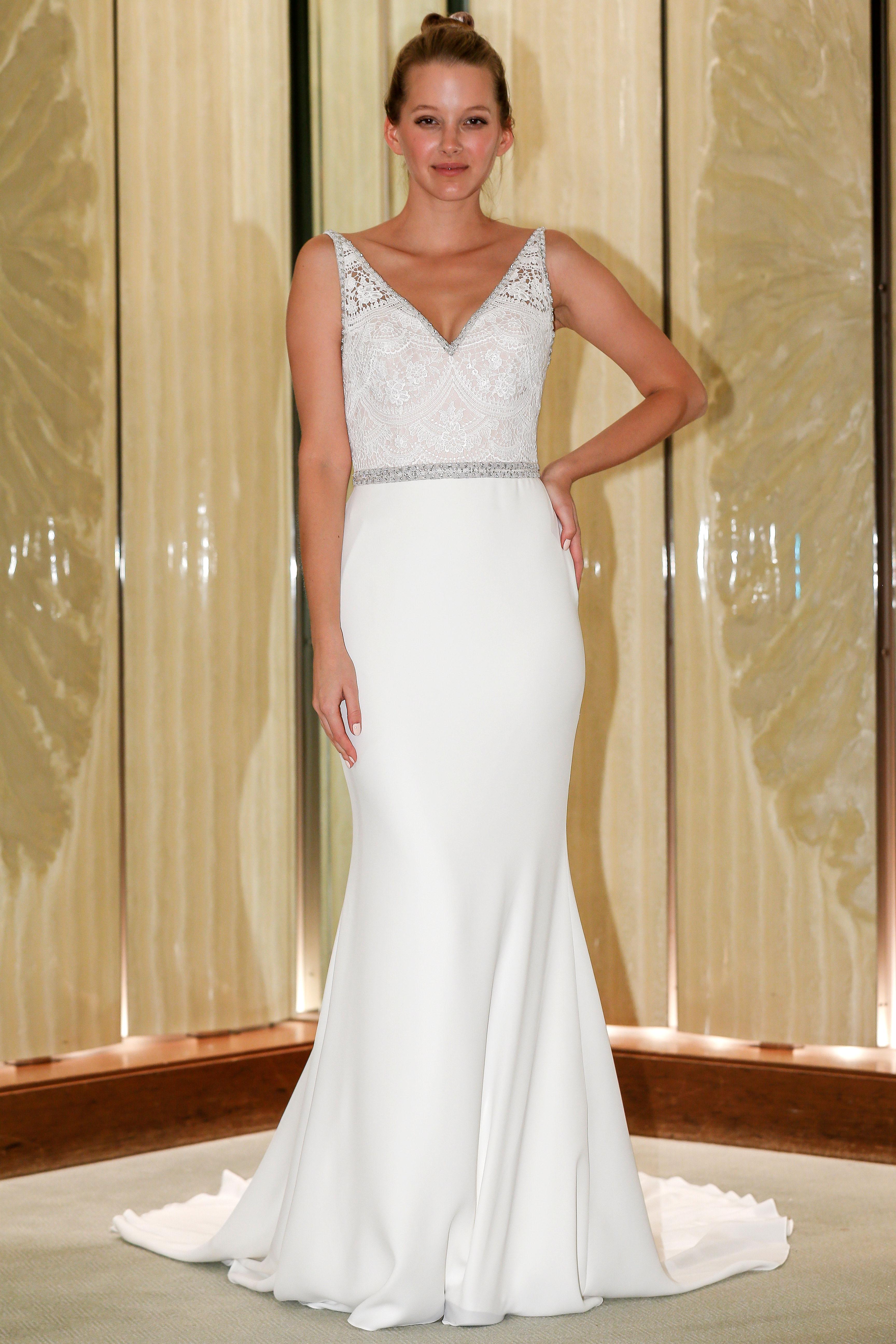 randy fenoli wedding dress embellished bodice v-neck trumpet beaded belt