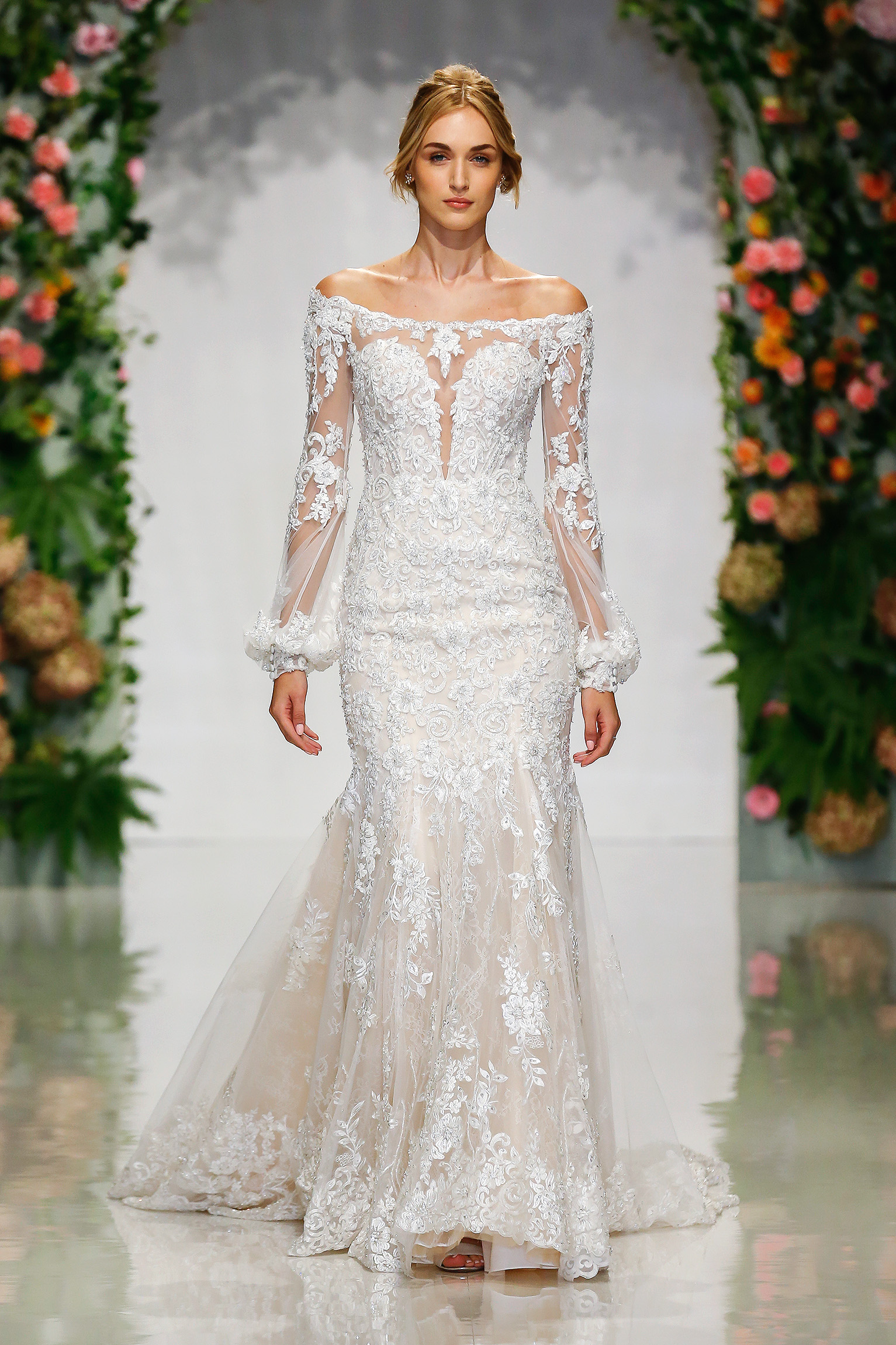 morilee madeline gardner fall 2019 off the shoulder lace mermaid wedding dress