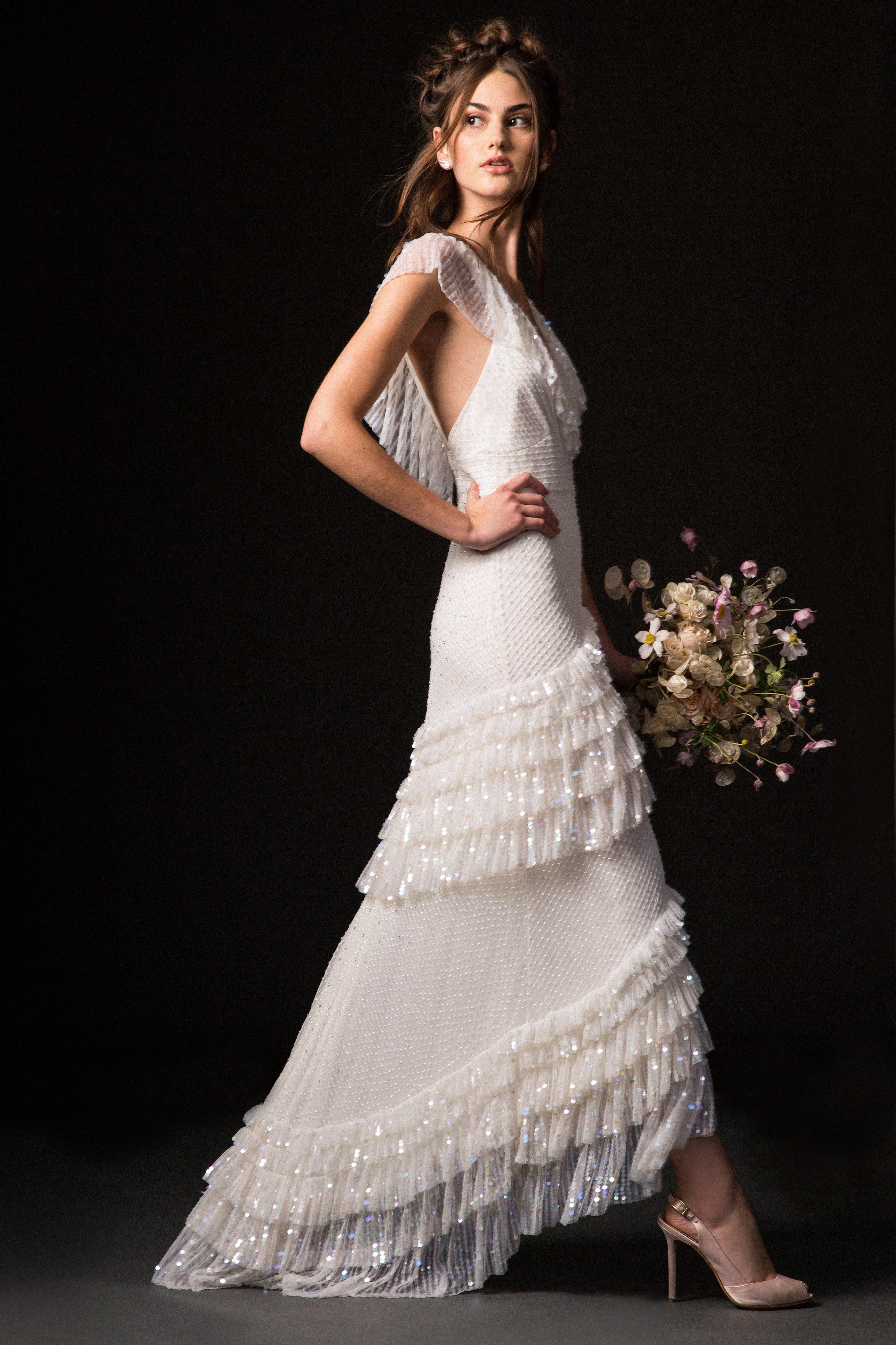 temperley fall 2019 cap sleeve fringe wedding dress