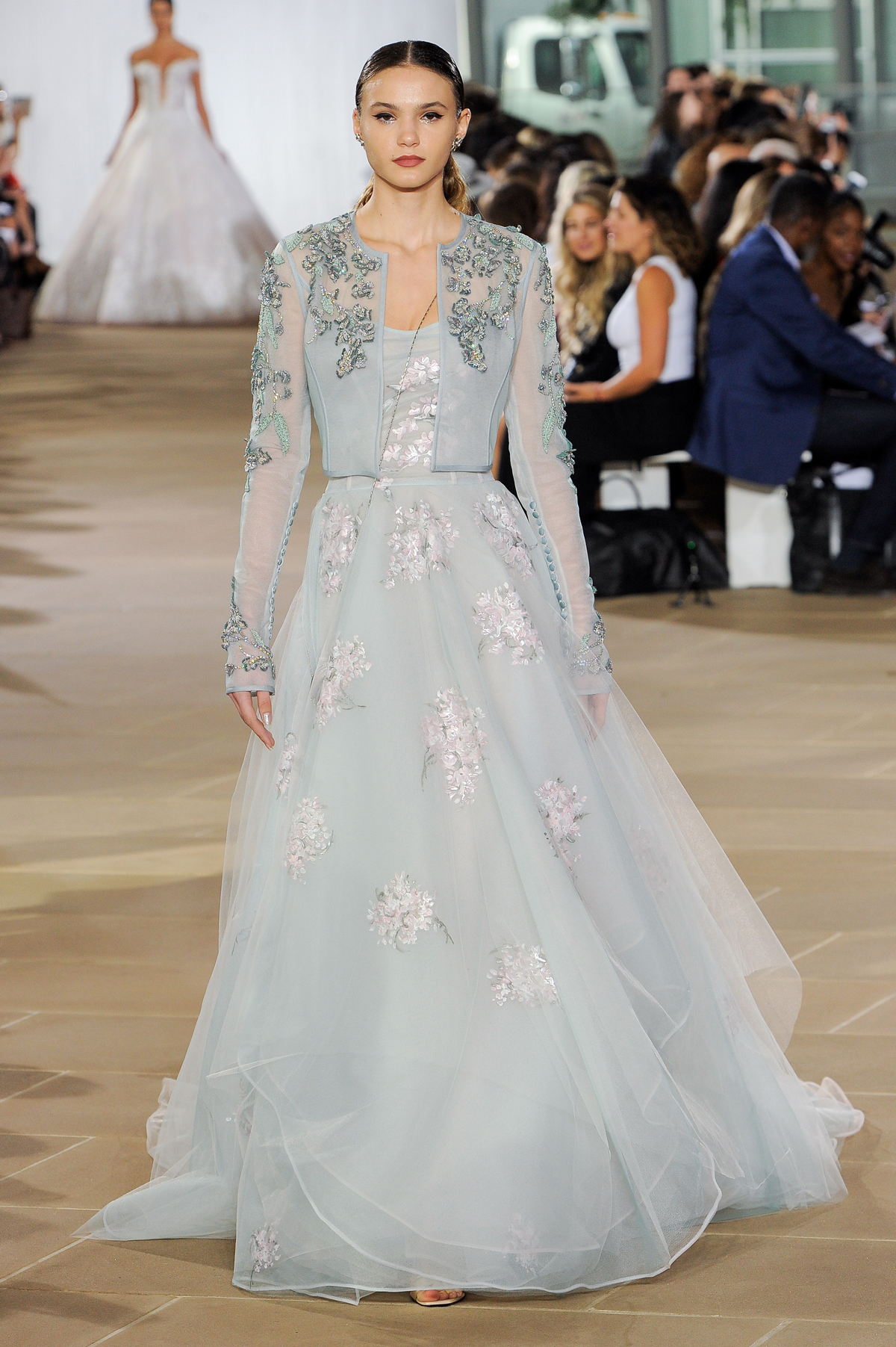 ines di santo fall 2019 blue floral a-line gown with sheer jacket