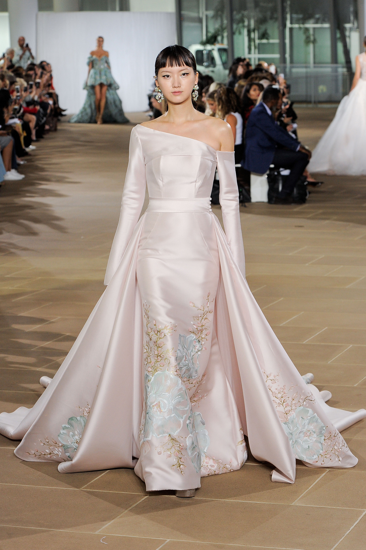 ines di santo fall 2019 floral pink silk long sleeve sheath with overskirt