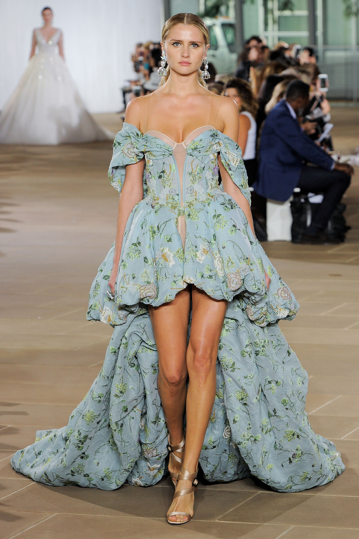 ines di santo fall 2019 blue floral high-low off the shoulder dress