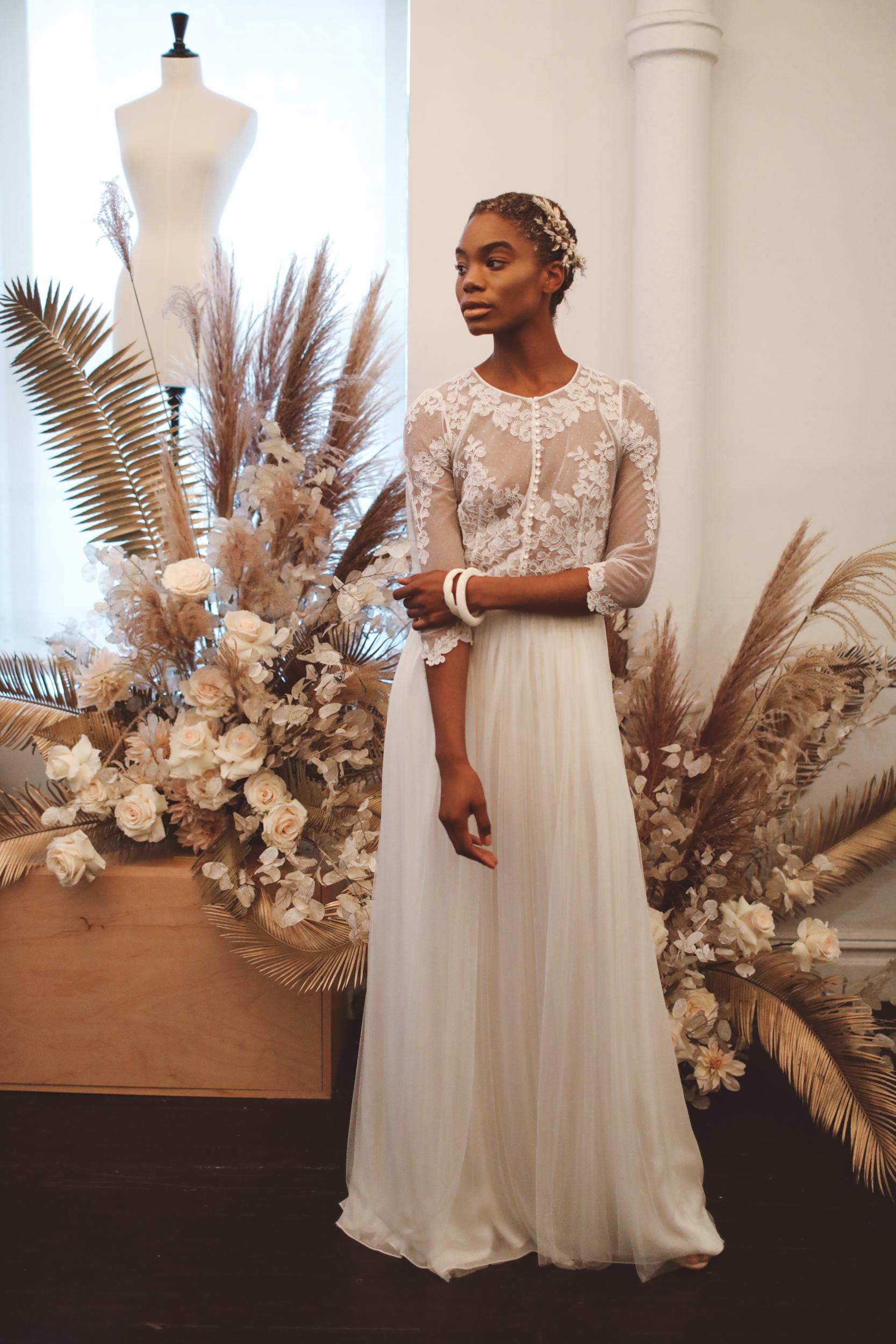 laure de sagazan fall 2019 sheath illusion high neck three quarter sleeves sheer lace