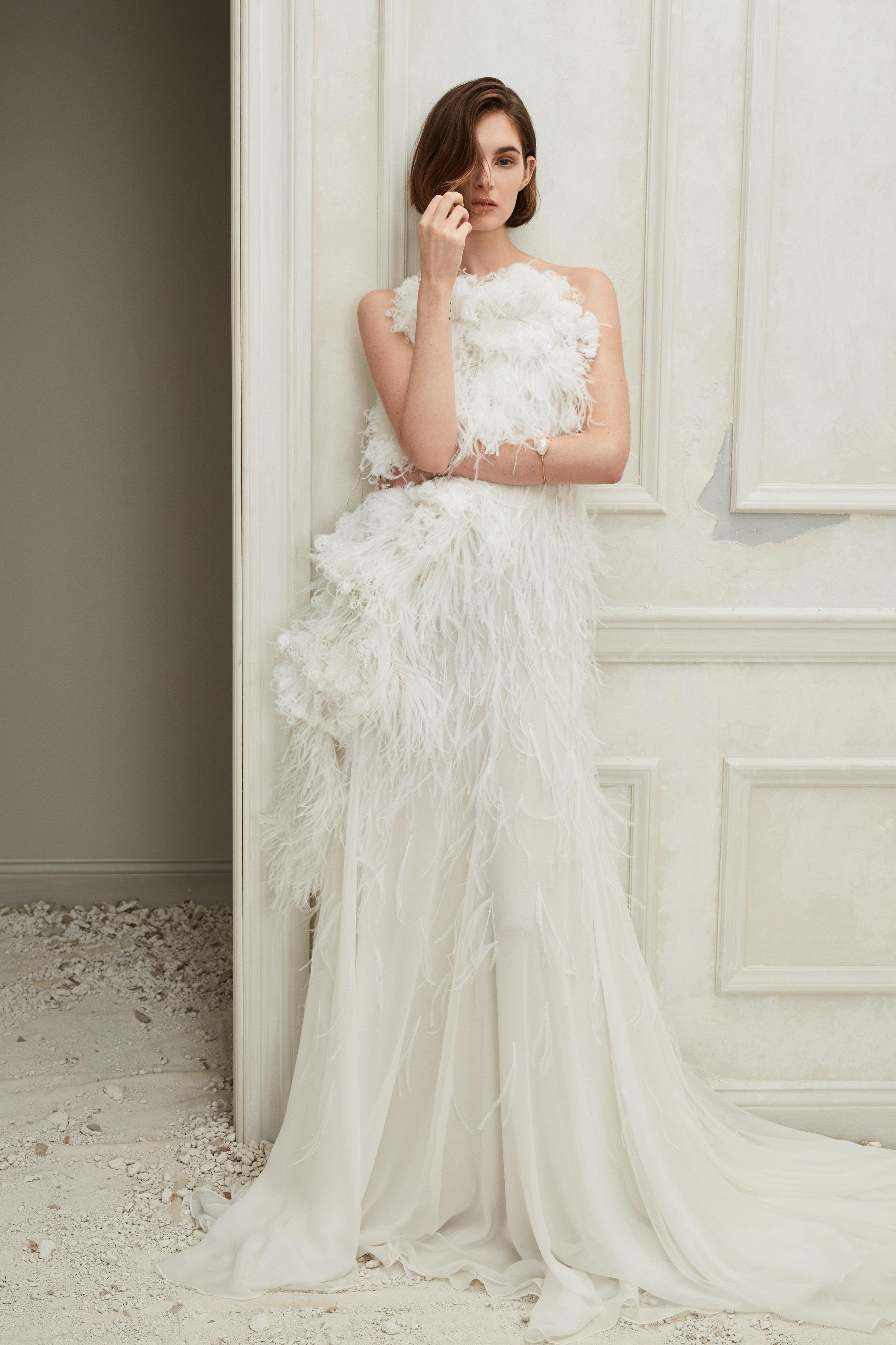 Oscar de la Renta illusion feathers wedding dress fall 2019