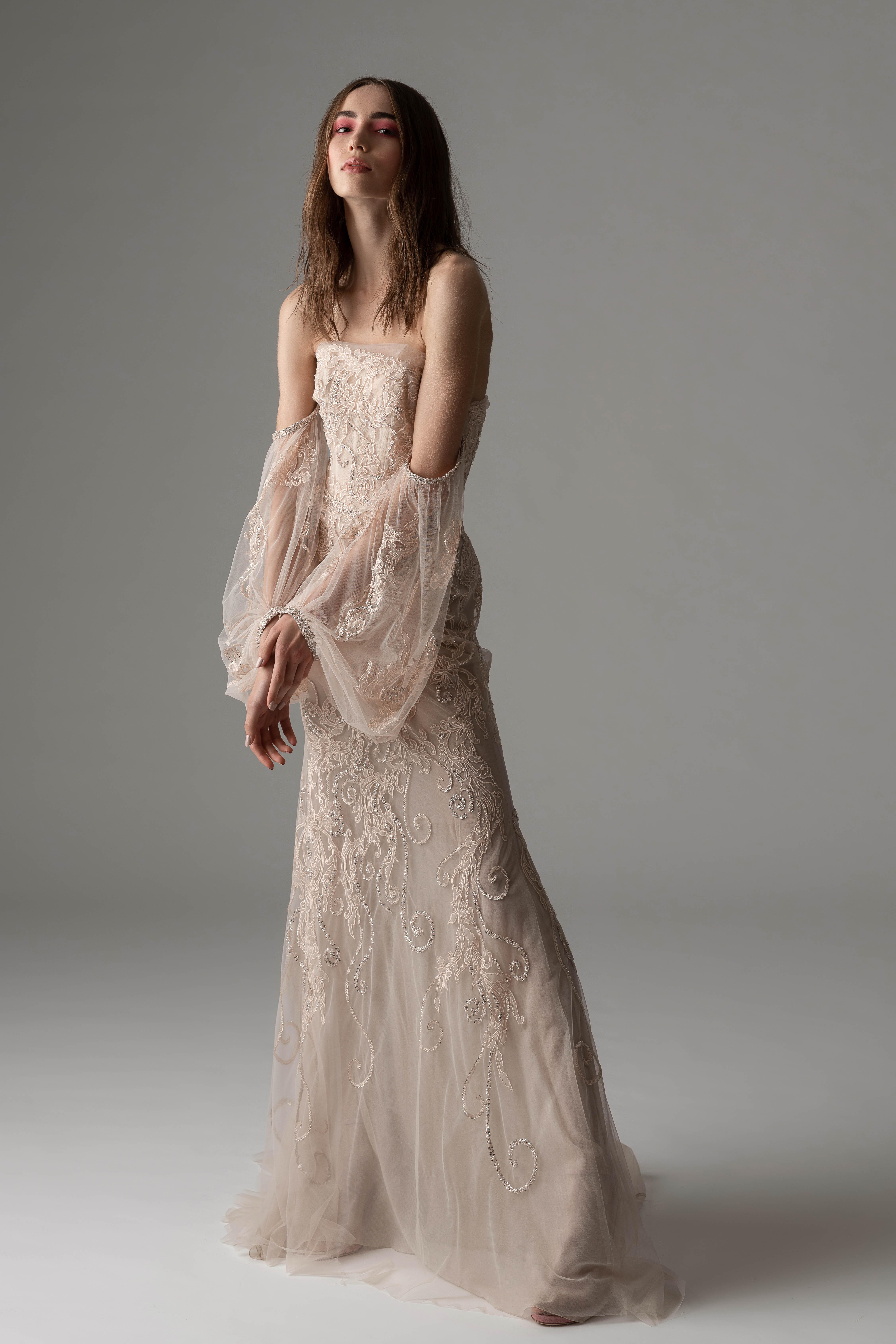 rivini by rita fall 2019 sheath bell sleeve wedding dress
