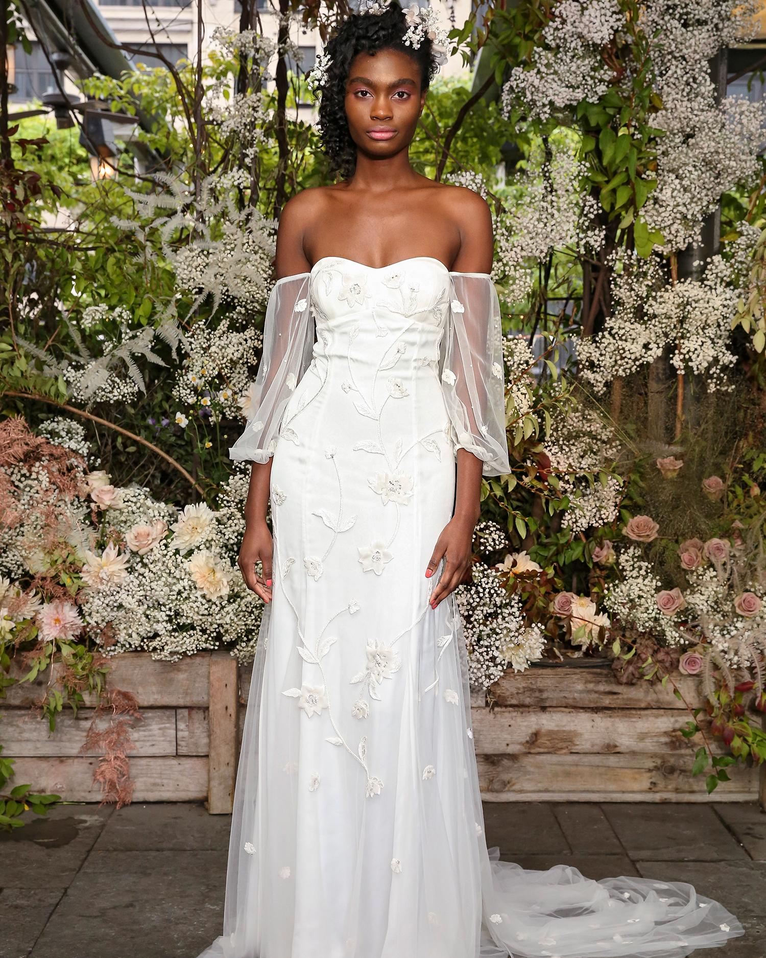 alexandra grecco wedding dress off-the-shoulder bishop sleeves