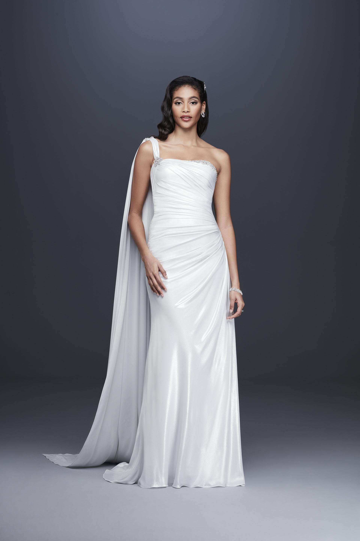 davids bridal galina signature fall 2019 trumpet one strap sleeveless beaded train