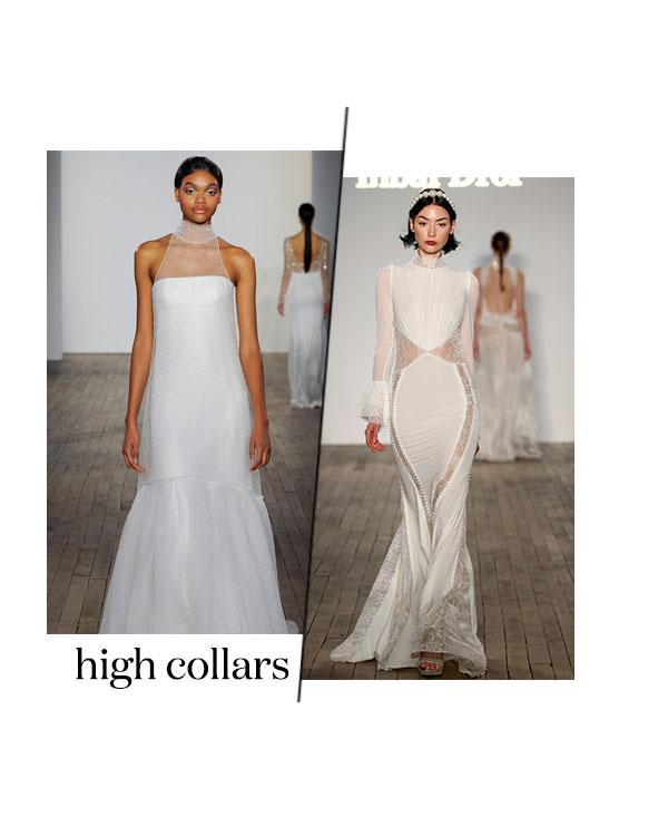 fall 2019 bridal fashion week trends high collars