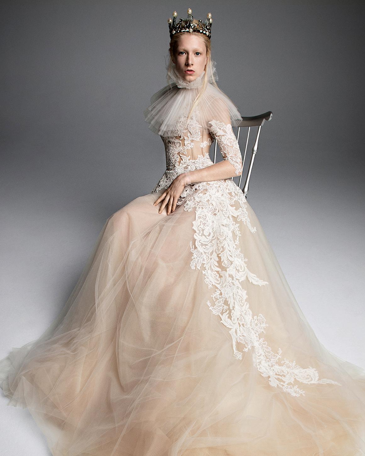 vera wang wedding dress champagne ball gown asymmetric lace detail