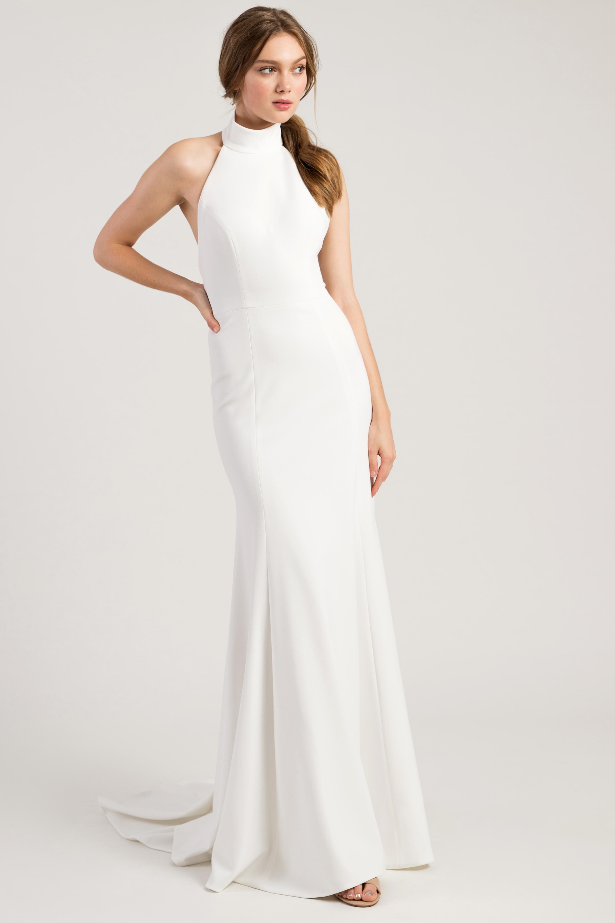 jenny by jenny yoo wedding dress high neck sleeveless trumpet