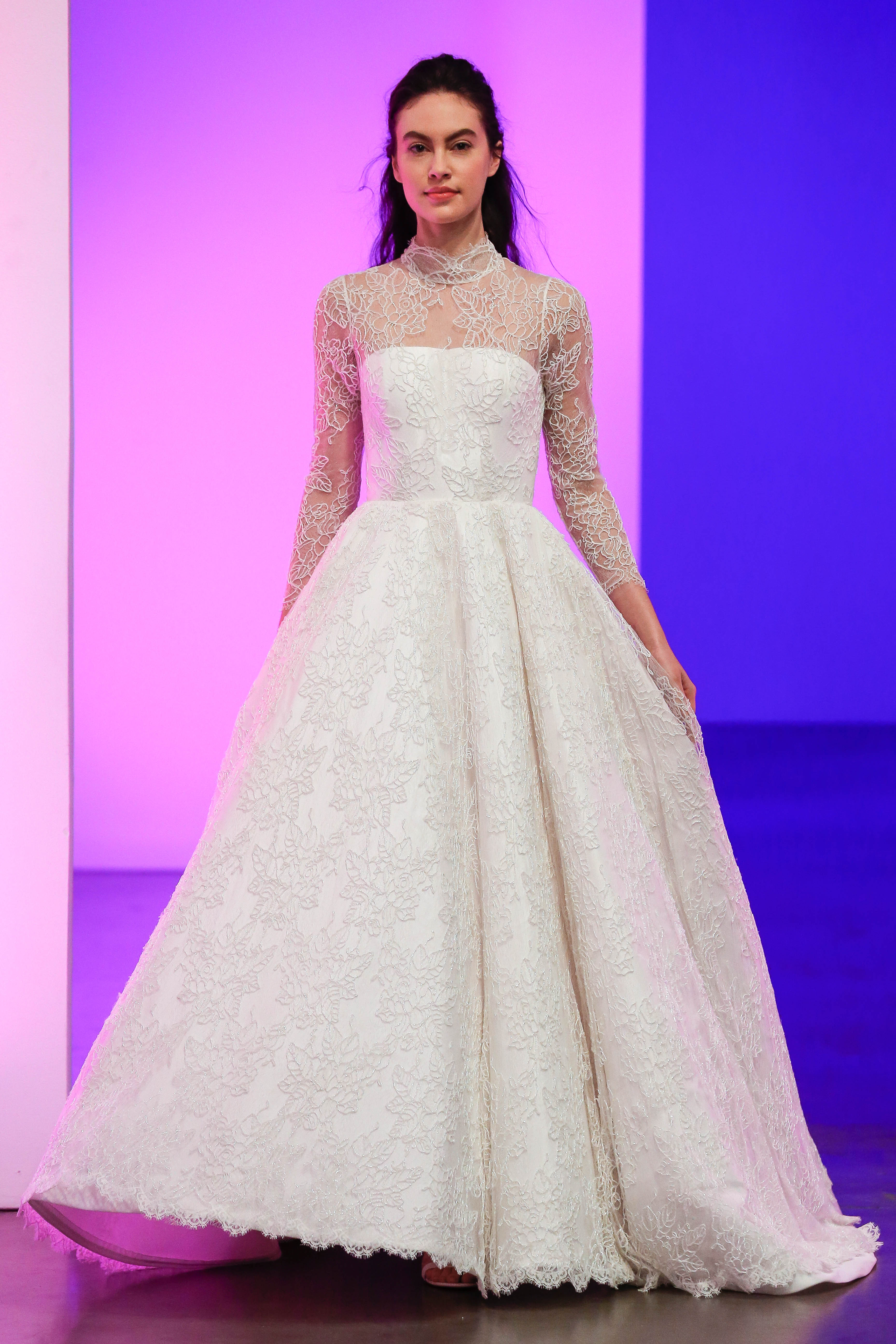 gracy accad fall 2019 illusion high neckline long sleeves ball gown wedding dress