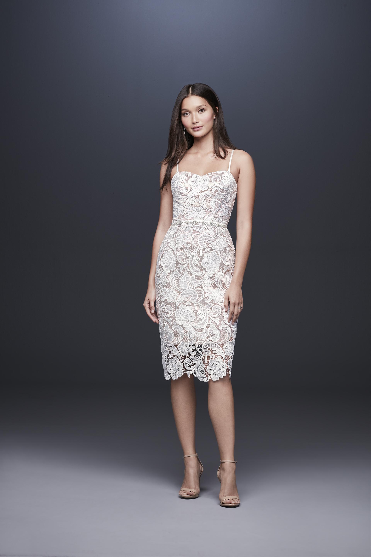davids bridal db studio fall 2019 shirt sheath sweetheart knee length spaghetti strap lace overlay